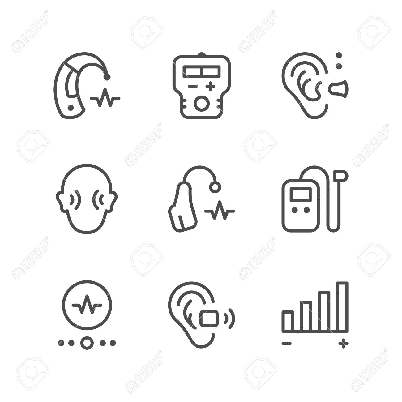 Set line icons of hearing aid - 73326674
