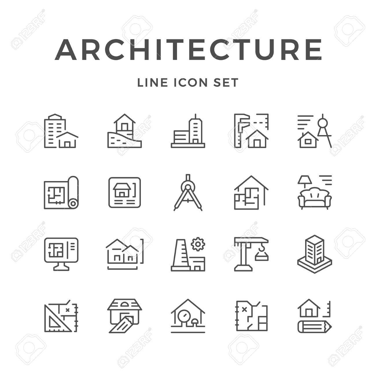 Set line icons of architecture - 78909123