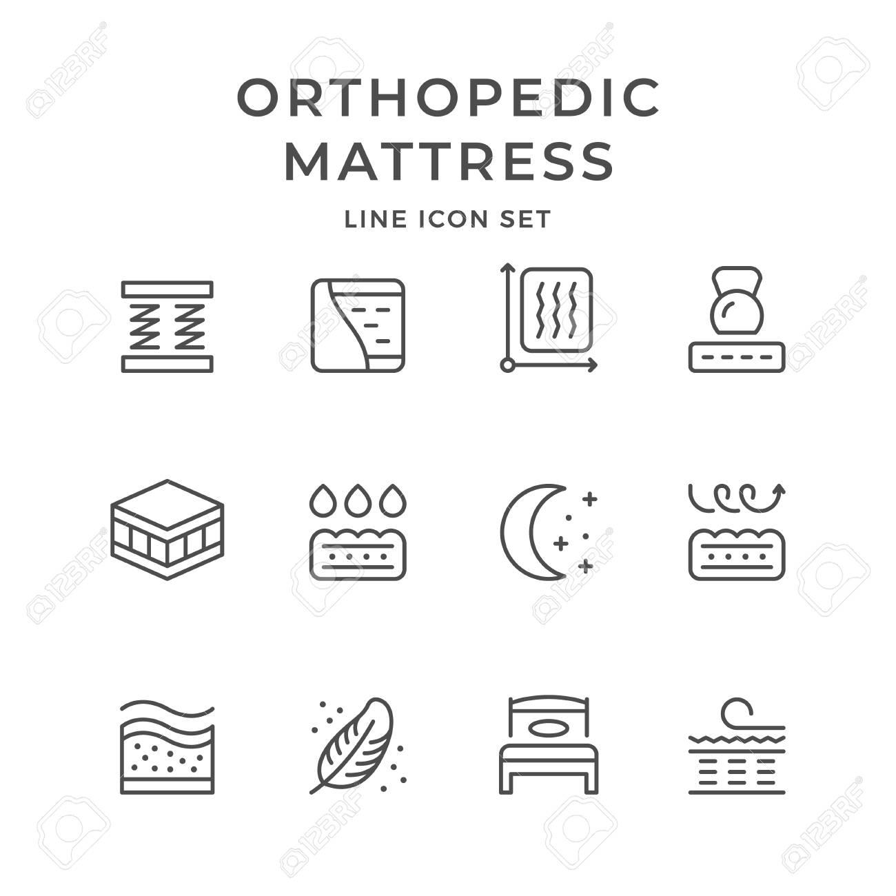 Set line icons of orthopedic mattress isolated on white. Vector illustration - 127413980