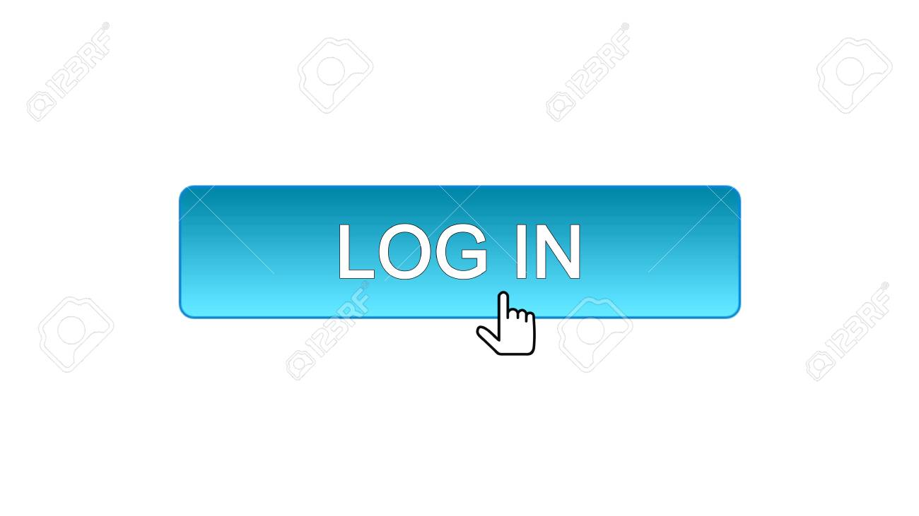 Log in web interface button clicked with mouse cursor, blue color,