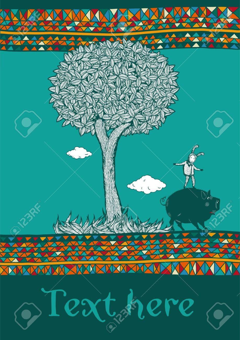Kid and pig play under decorative tree  Ornamental border Stock Vector - 16442936