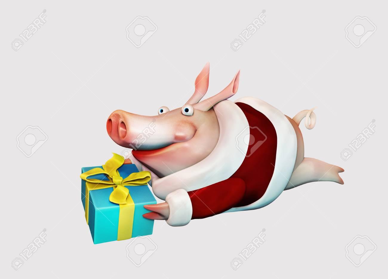 Neujahr Schwein Fliegt Mit Geschenk In Den Händen Isoliert