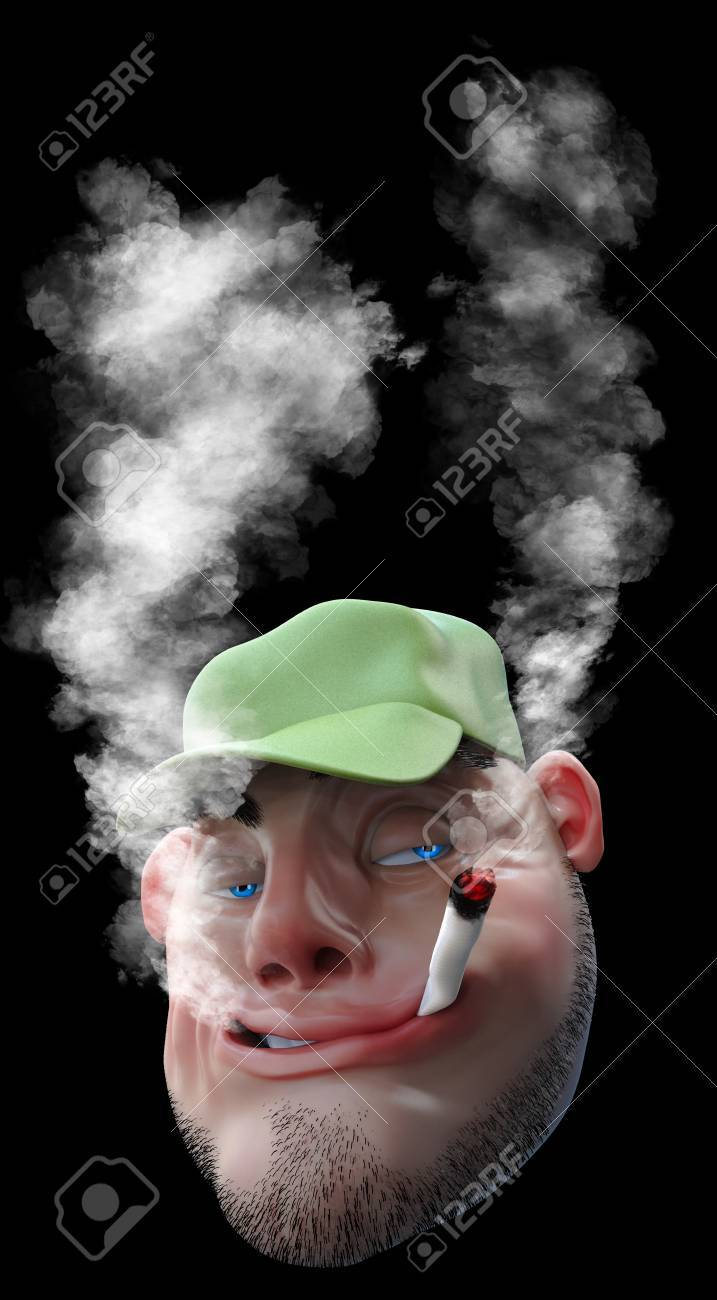 Cartoon Man Smoking Weed Joint 3d Illustration Isolated On Black Stock Photo Picture And Royalty Free Image Image 75003194