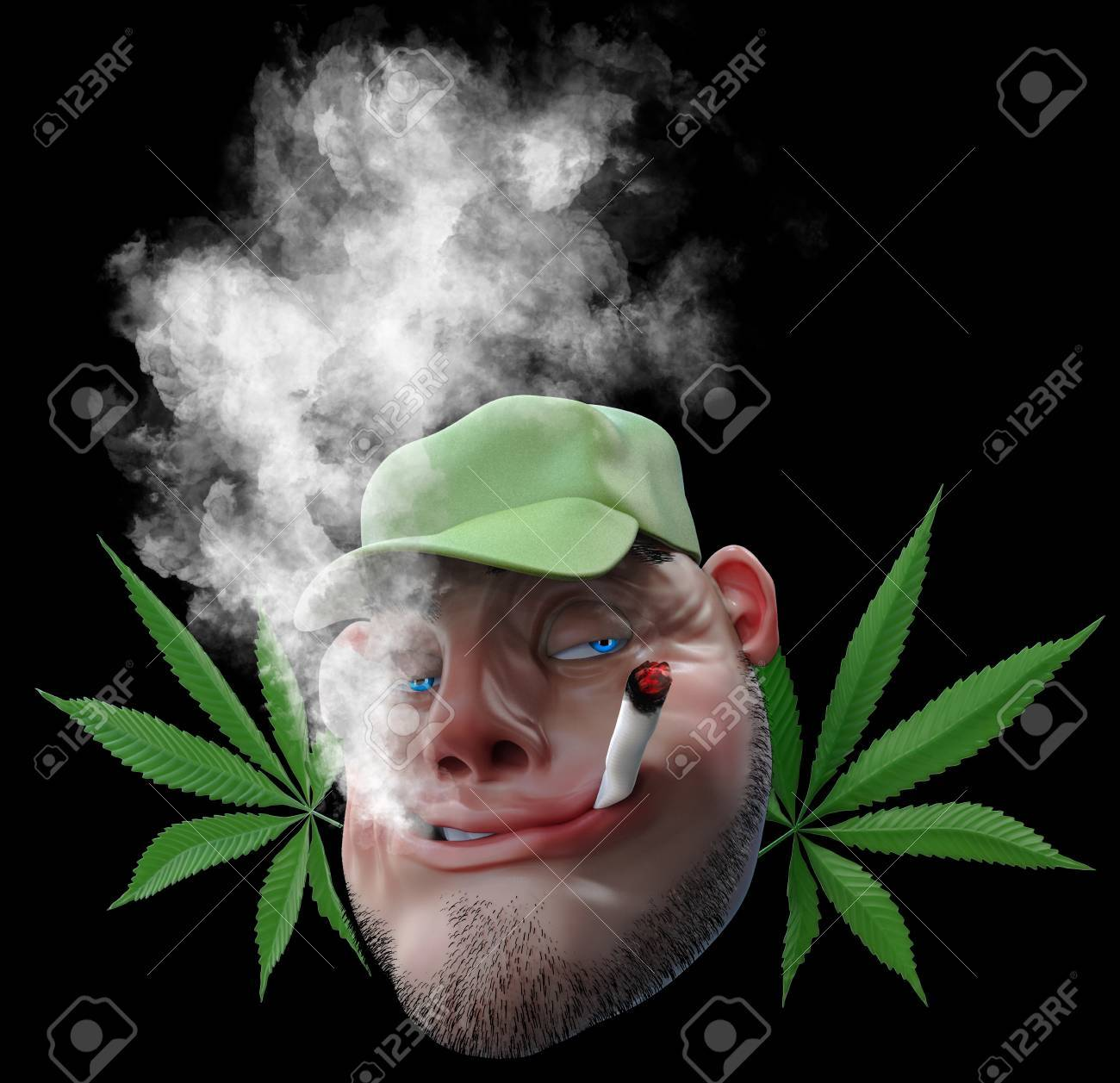 Cartoon Man Smoking Weed Joint 3d Illustration Isolated On Black Stock Photo Picture And Royalty Free Image Image 75248997