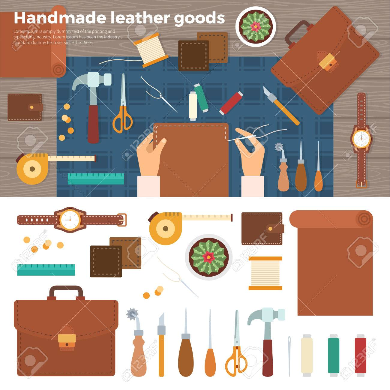 Workplace for leather goods. Table with tools and working furrier hands mit nadel. Top view. For website construction, mobile applications, banners, corporate brochures, book covers, layouts - 56712328