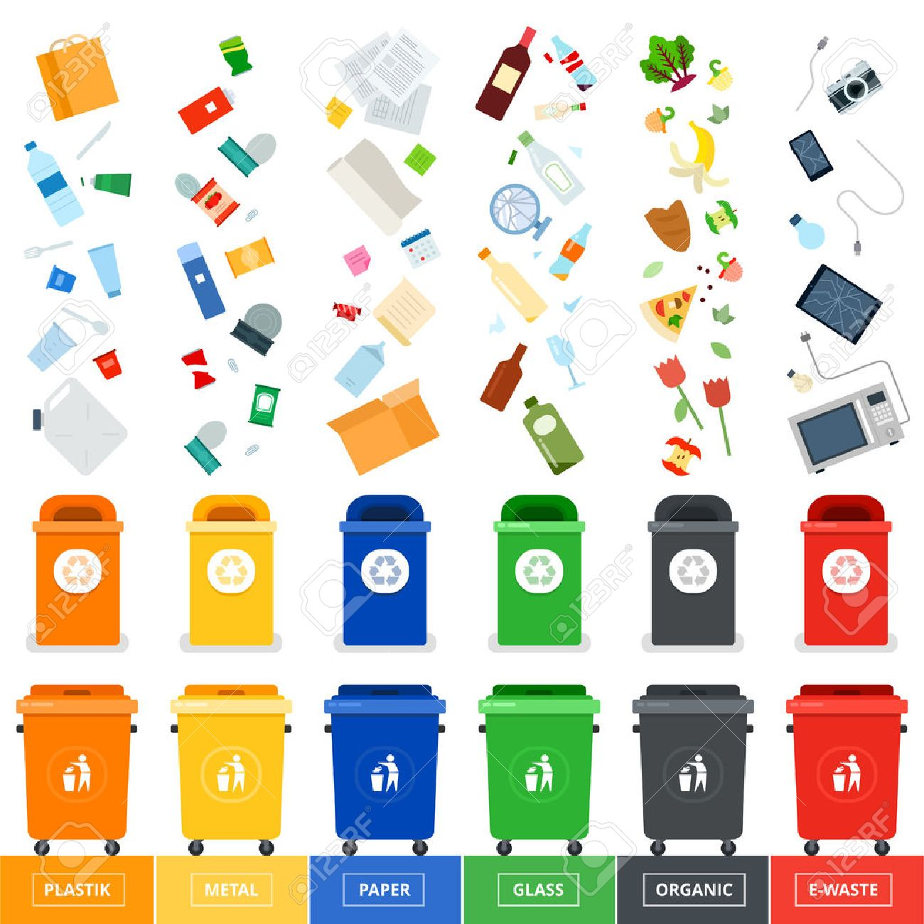 Garbage cans flat illustrations. Many garbage cans with sorted garbage. Sorting garbage. Ecology and recycle concept. Trash cans isolated on white background - 56713544