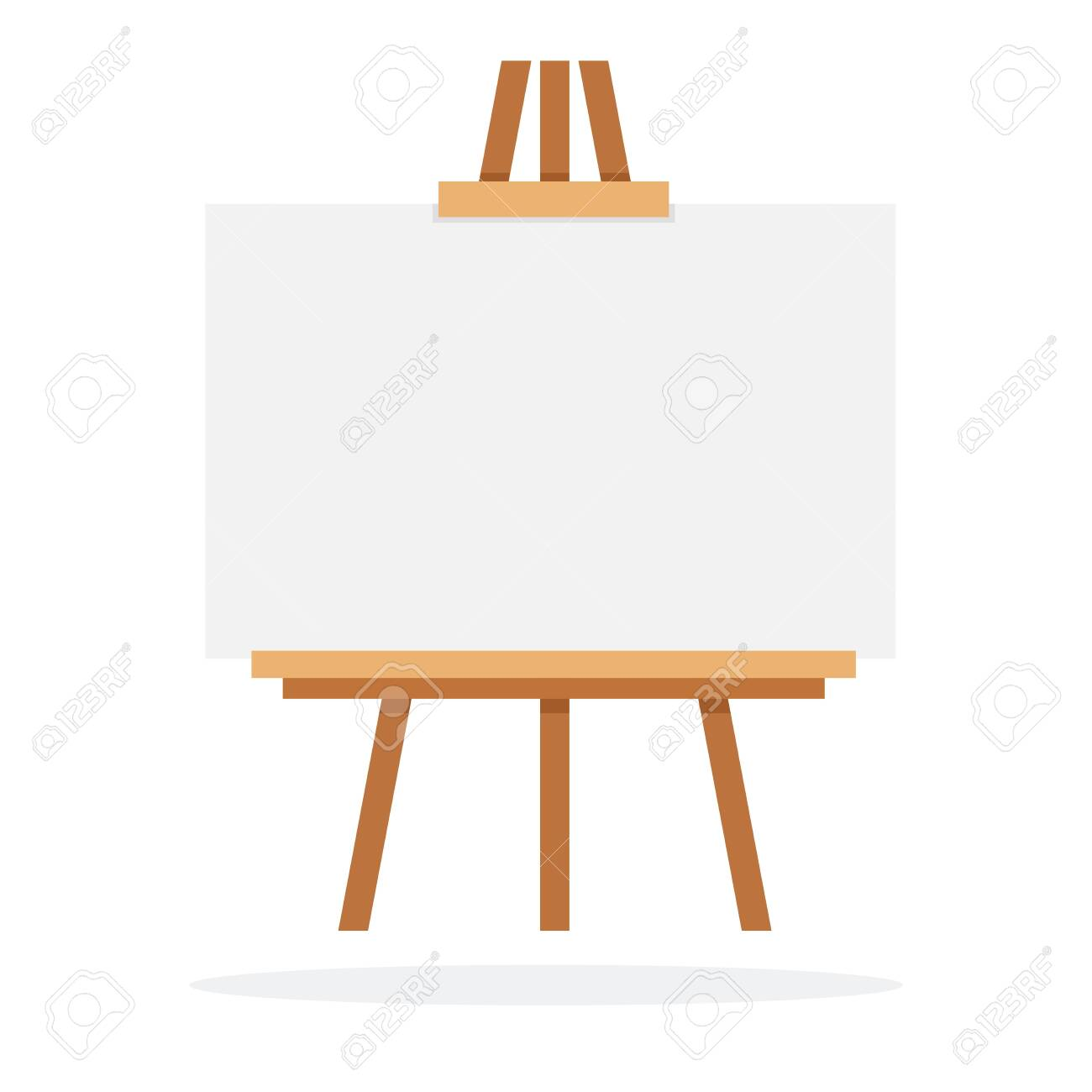 Wooden easel with whiteboard vector flat material design isolated on white - 137002885