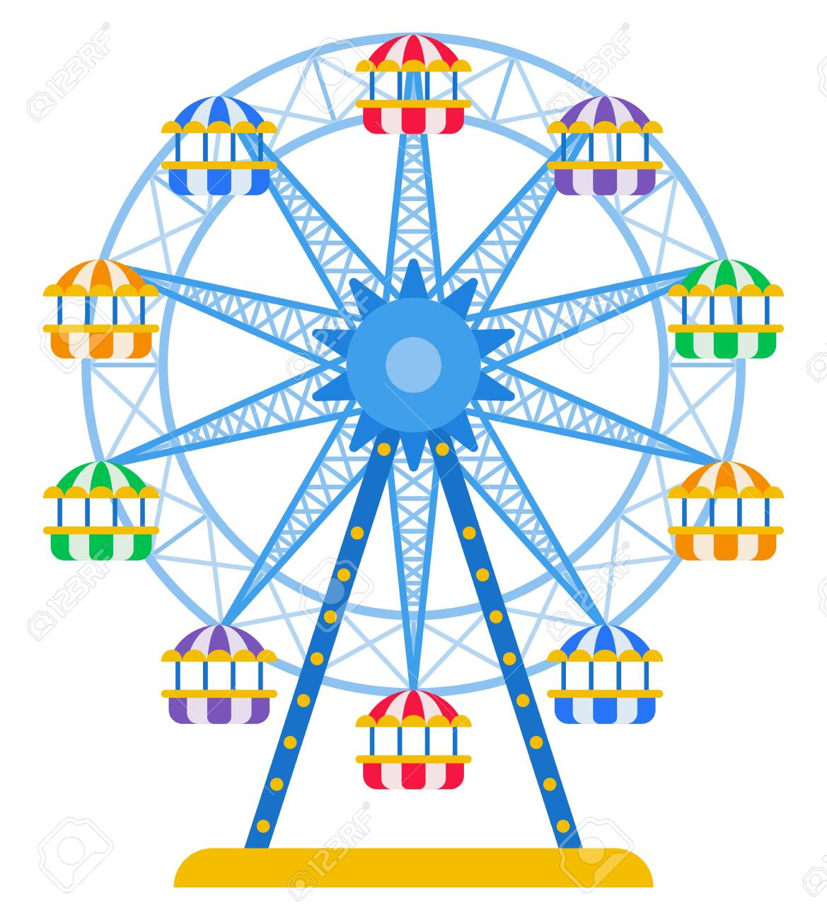 Ferris wheel with colored cabins for passengers vector icon flat isolated - 148858144