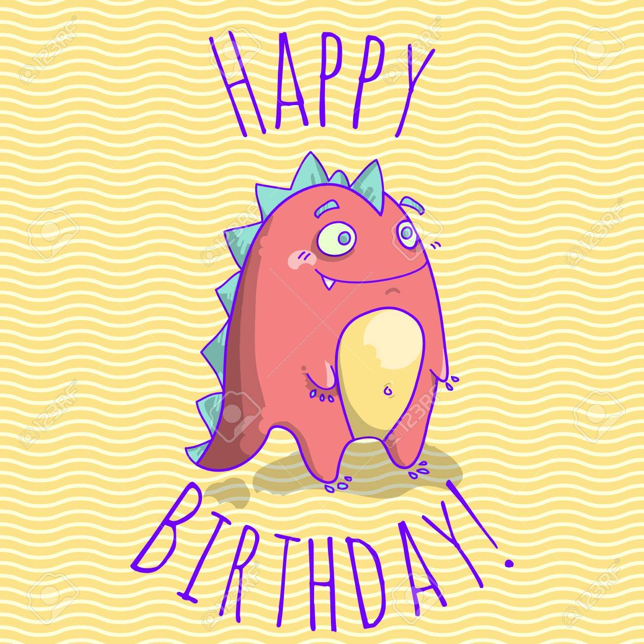 Happy Birthday Card Template For Children With Funny Dinosaur Character.  Vector Illustration. Stock Vector
