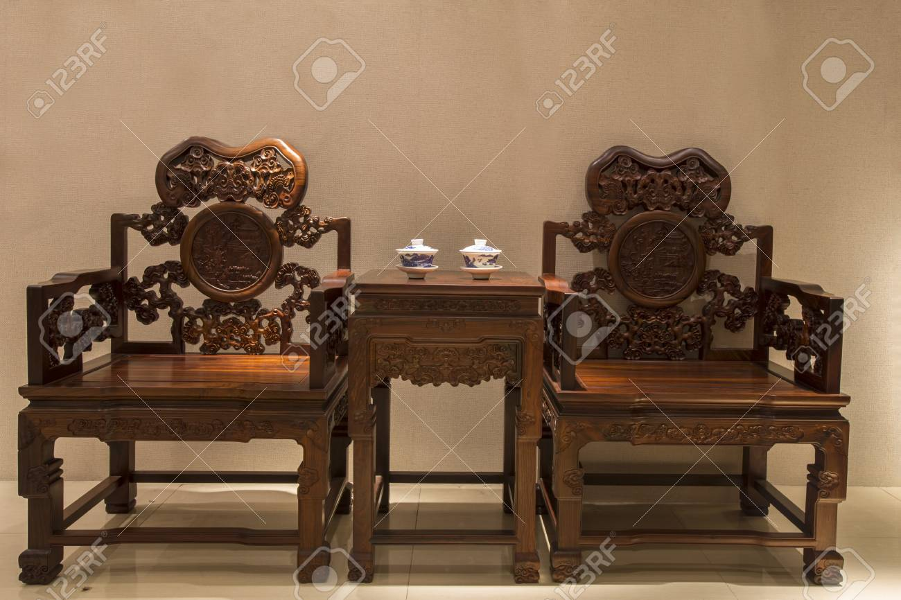 Stock Photo   Traditional Chinese Woodcarving Furniture