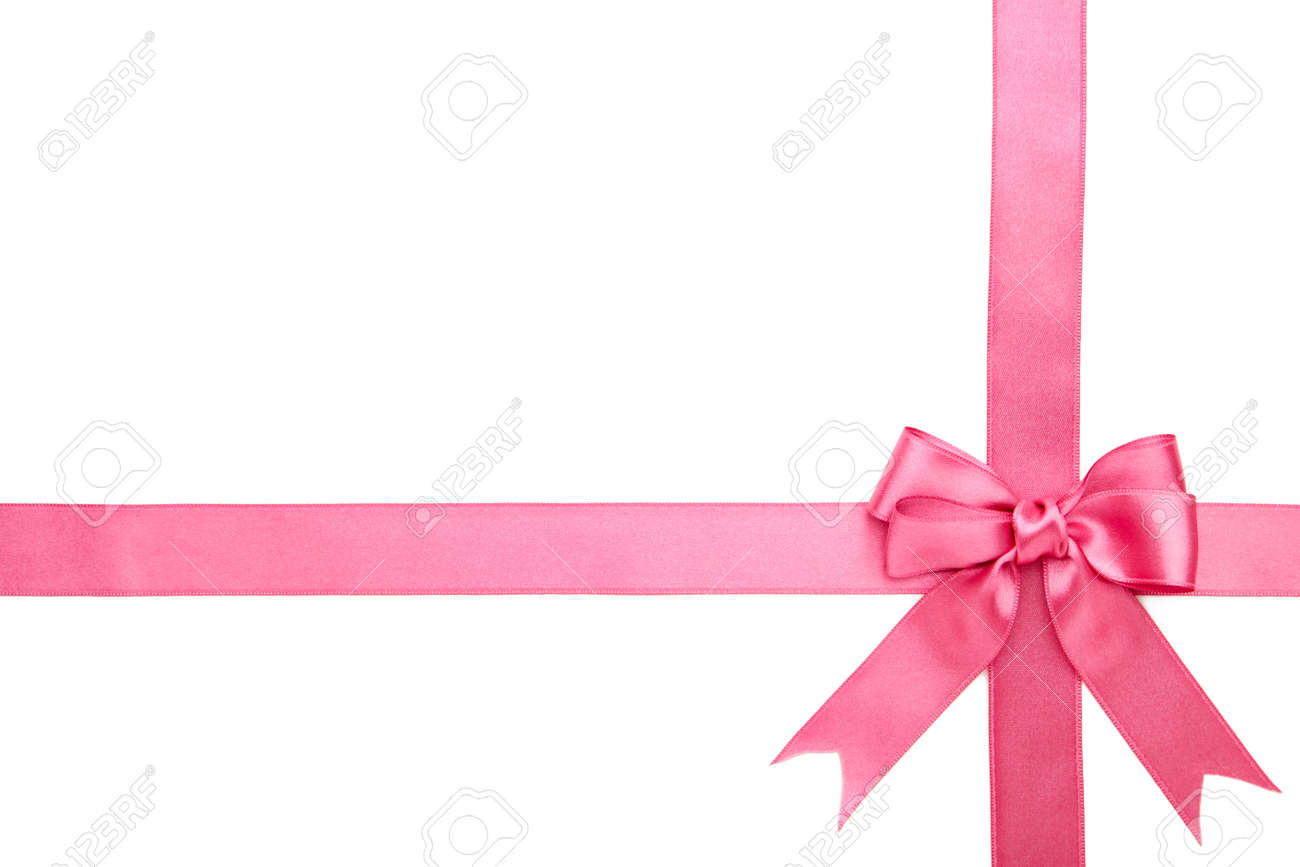 Pink ribbon with bow isolated on a white background. Top view. - 166522688