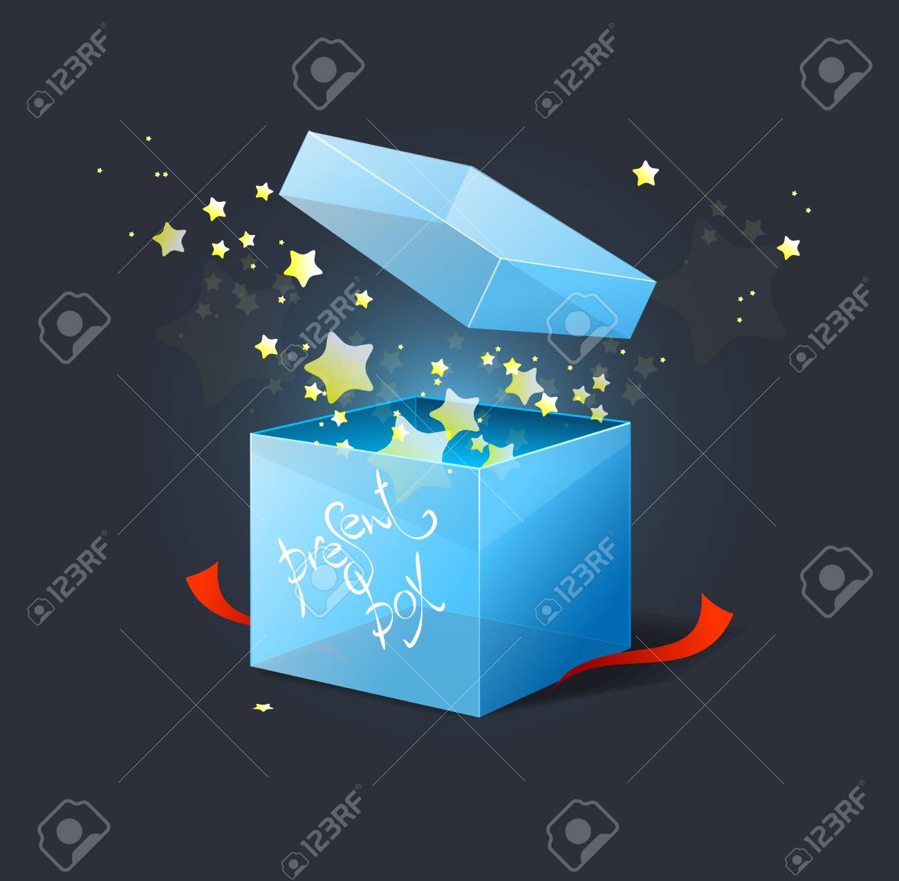 Vector box with stars illustration Stock Vector - 17290301
