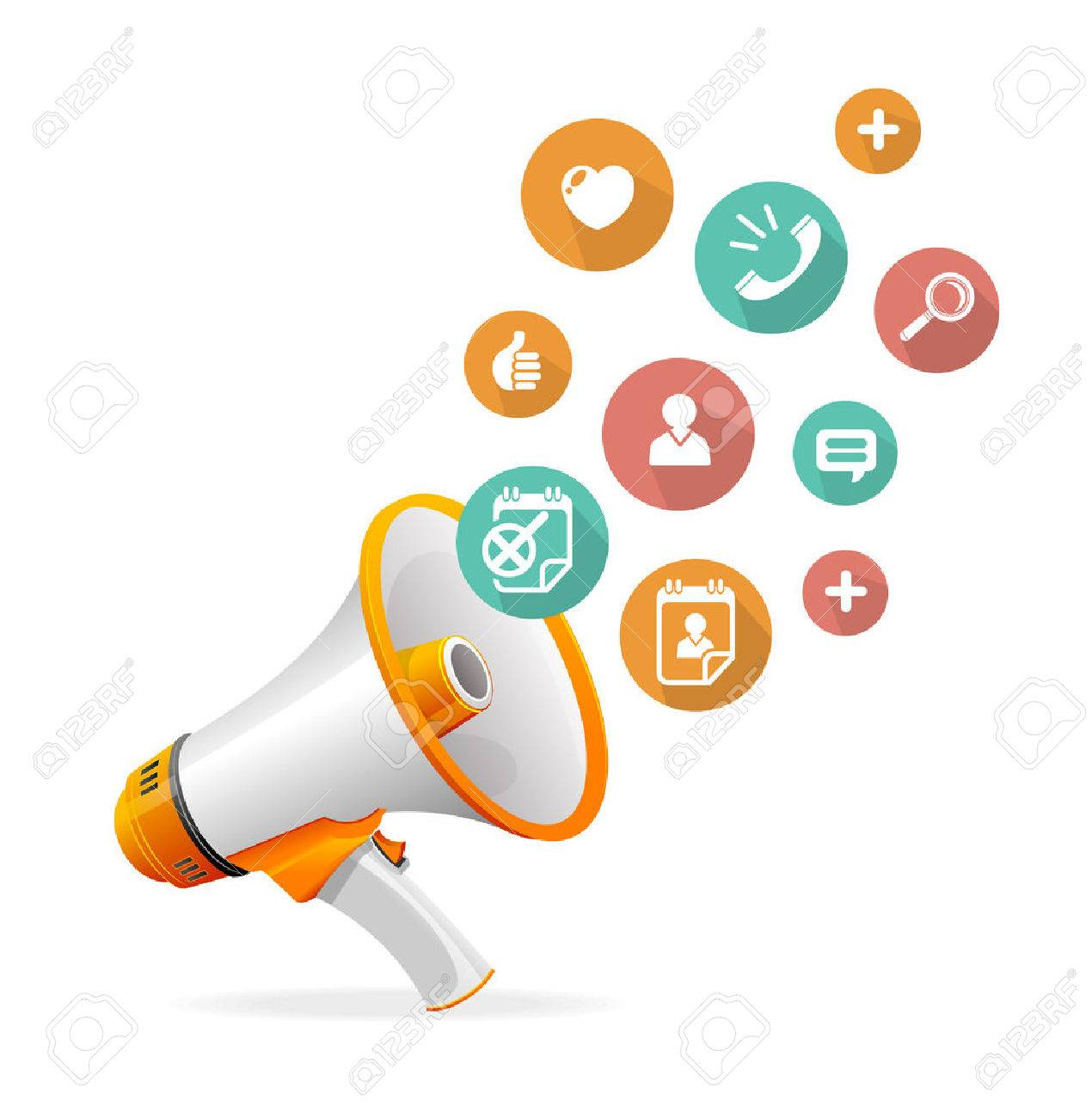Illustration flat design concept icons and megaphone - 26081792
