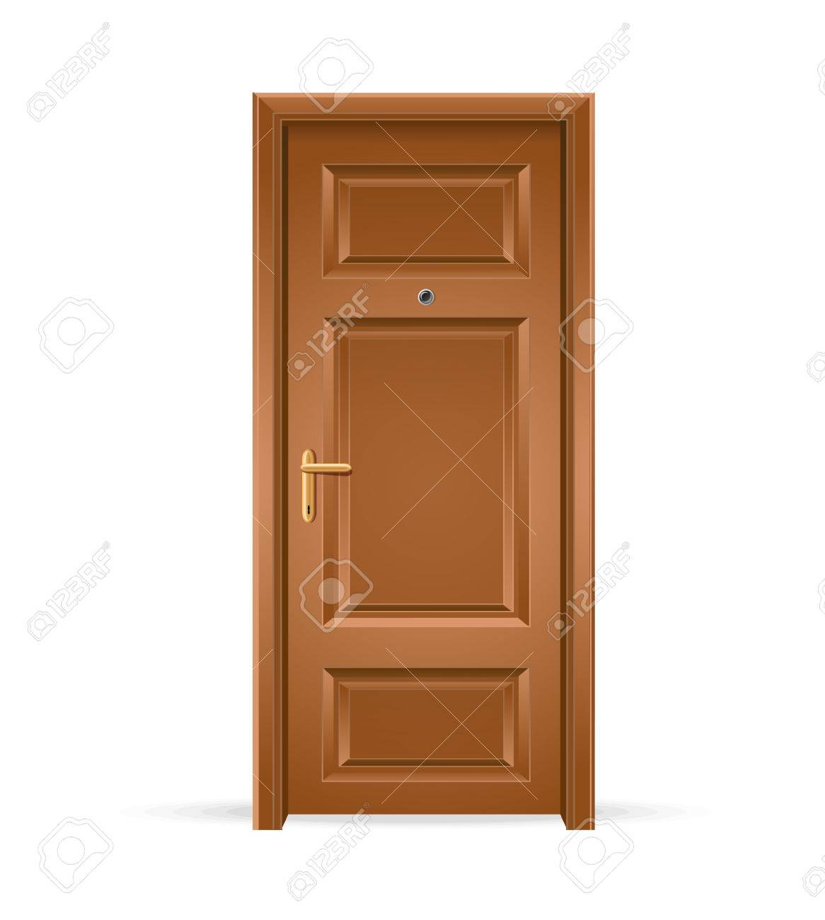 Vector   Vector Interior Apartment Wooden Door Isolated On White