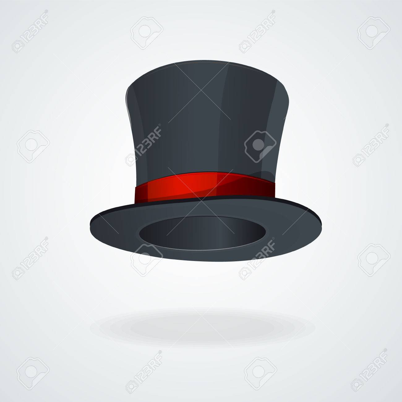 8294a9533b7 Vector Black Top Hat And Red Ribbon Isolated . Royalty Free Cliparts ...