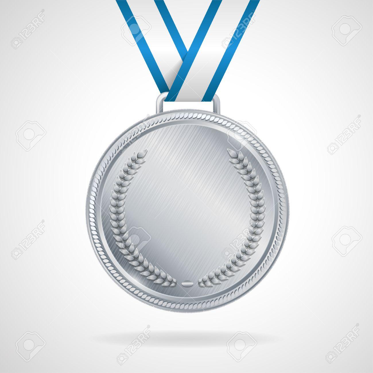 950bde2b52ef Medalla De Plata Campeón Con Cinta Sobre Fondo Blanco Ilustraciones ...