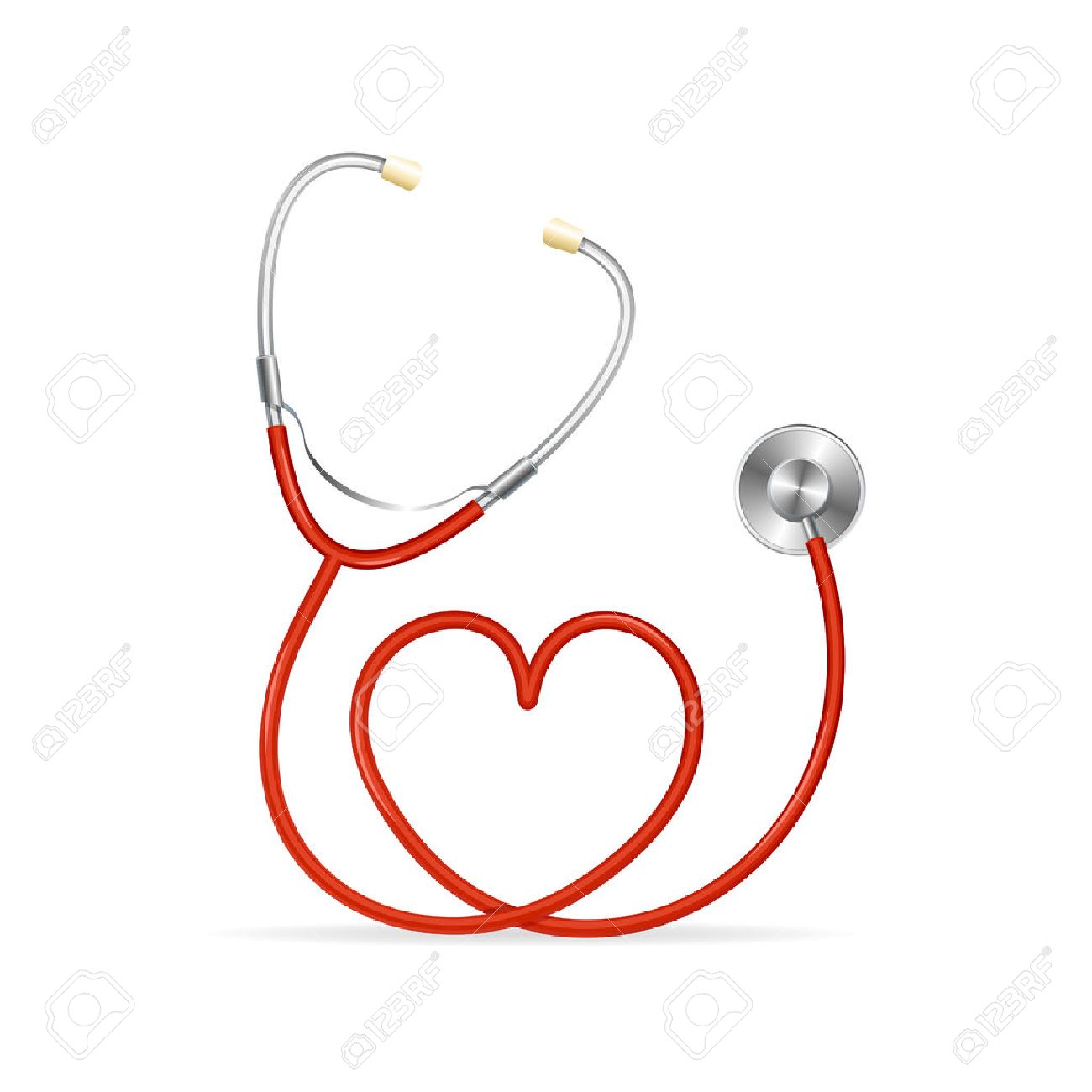 Vector Red Stethoscope in Shape of Heart - 36359200