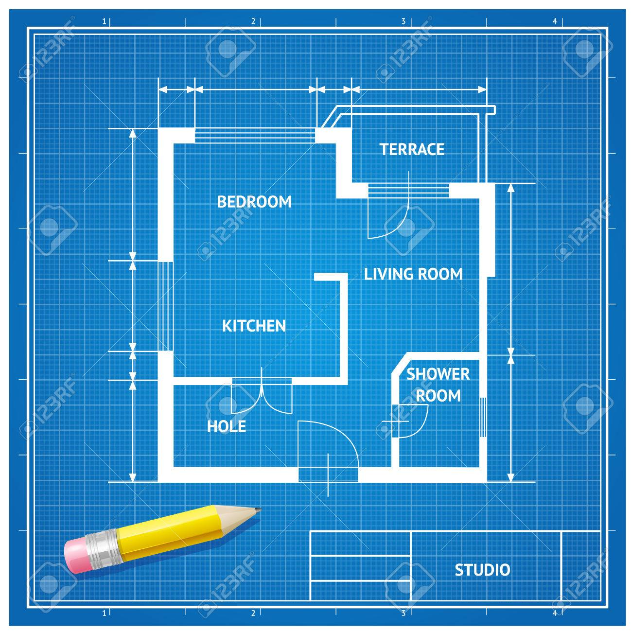 Vector illustration furniture architect blueprint with a pencil furniture architect blueprint with a pencil background white on blue flat design malvernweather Gallery