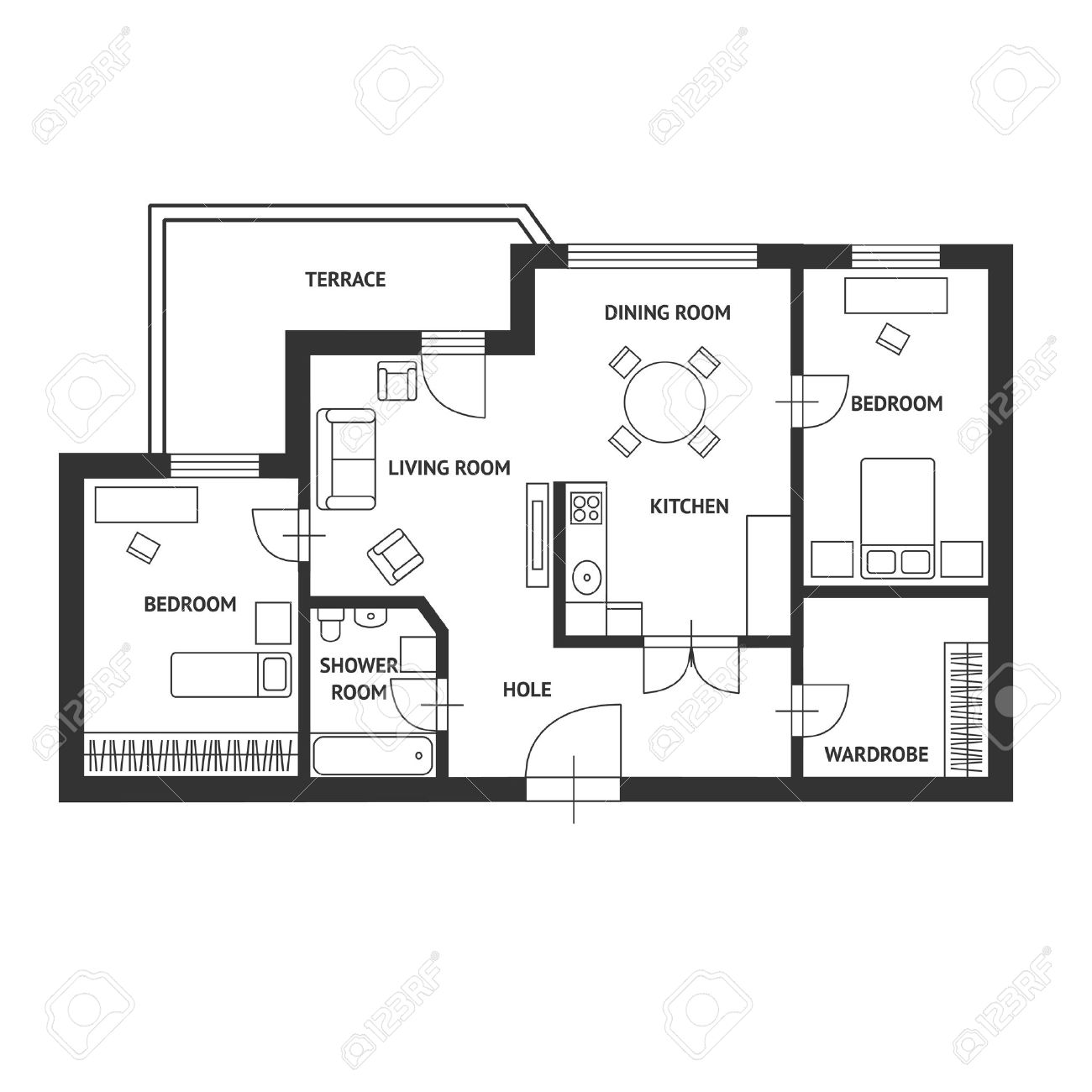 Black and white floor architect plan with a furniture flat design