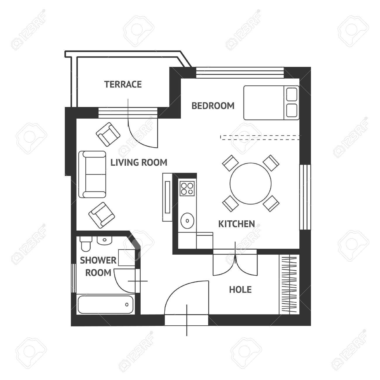 plans maison vector plan de la avec un mobilier - Plan Maison Architecte Design