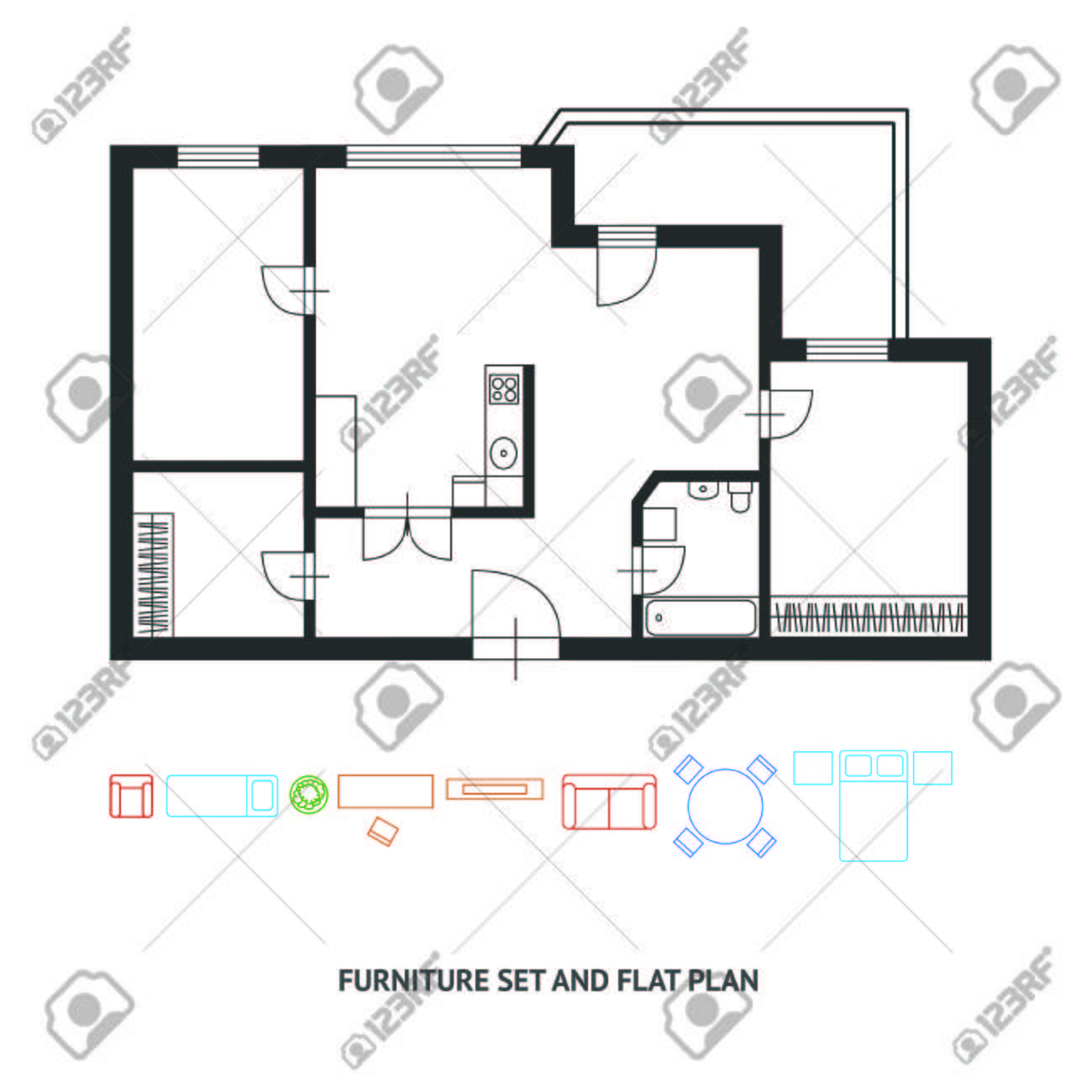 Vector Illustration Architect Plan Black And White Of Building