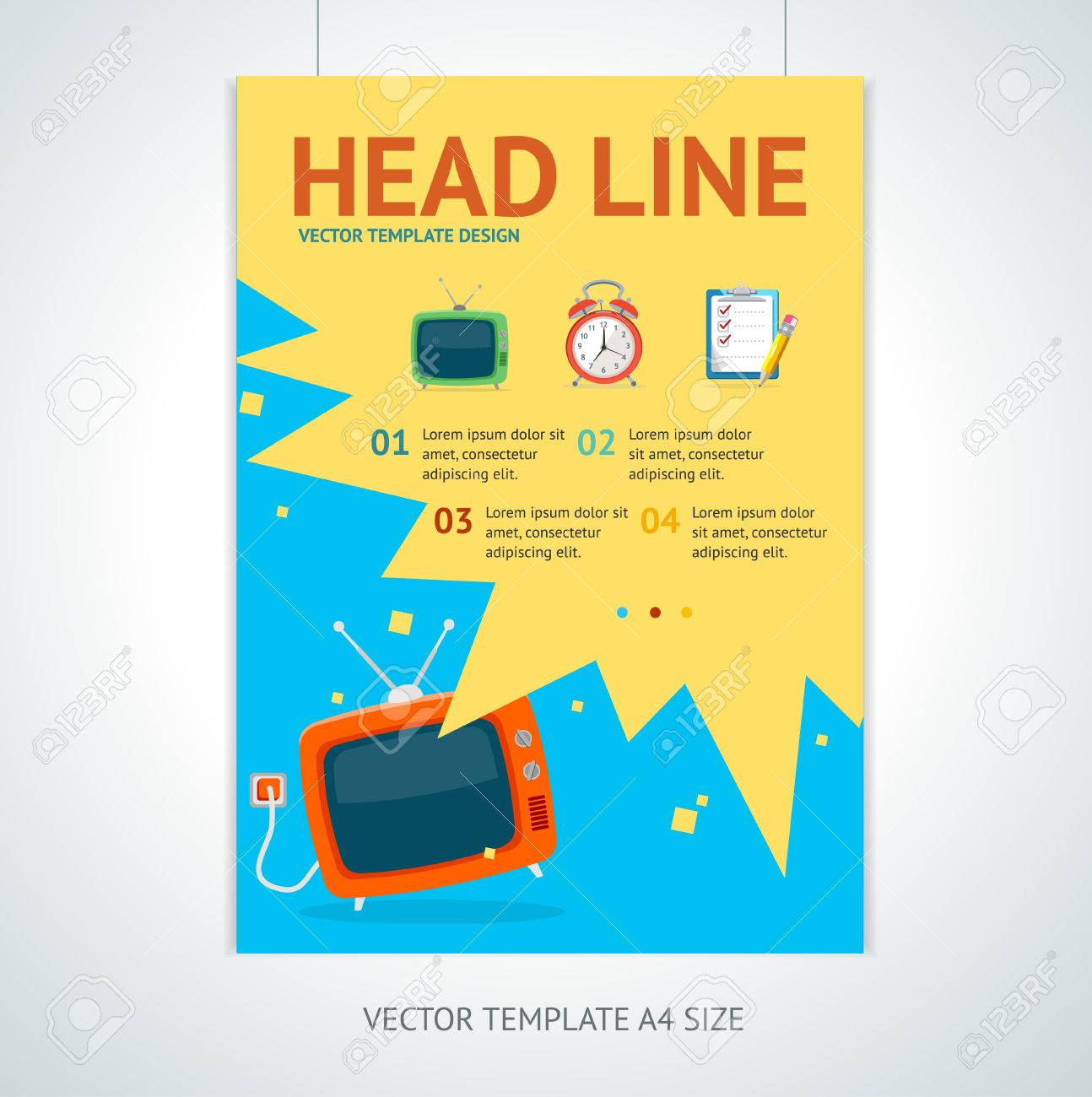 vector illustration retro television brochure flyer design vector vector illustration retro television brochure flyer design templates in a4 size promotion marketing concept