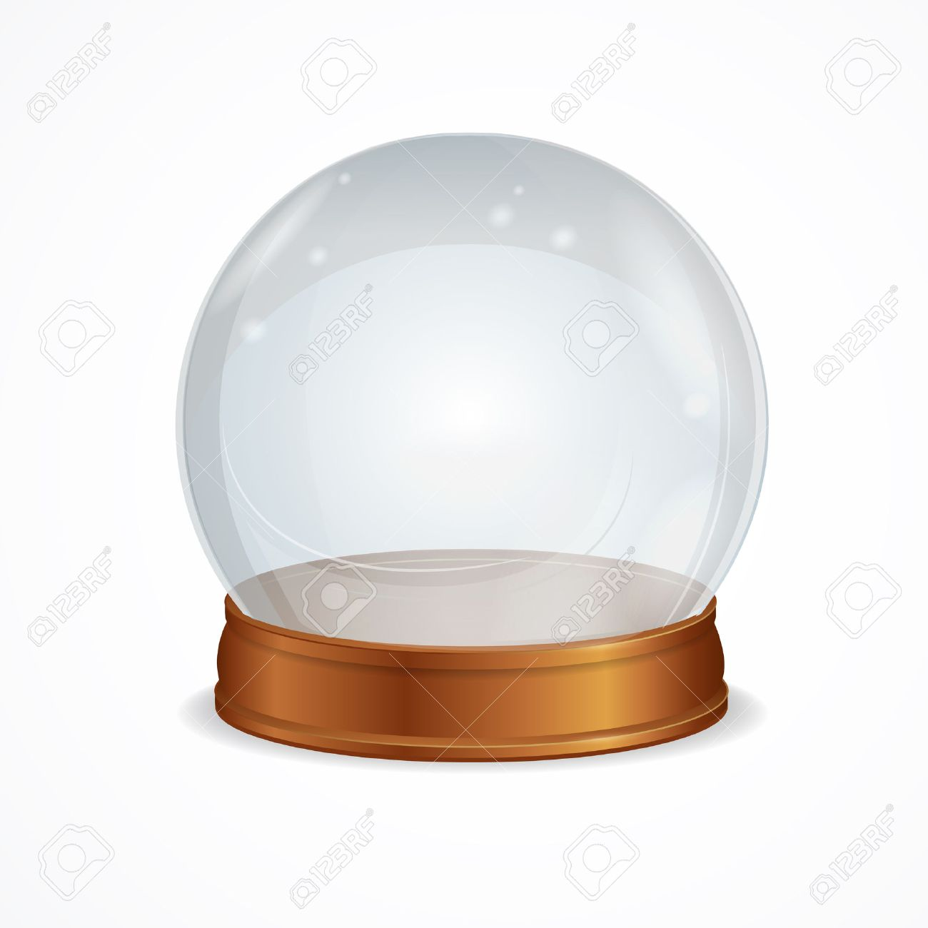 Vector Illustration empty transparent crystal ball isolated on