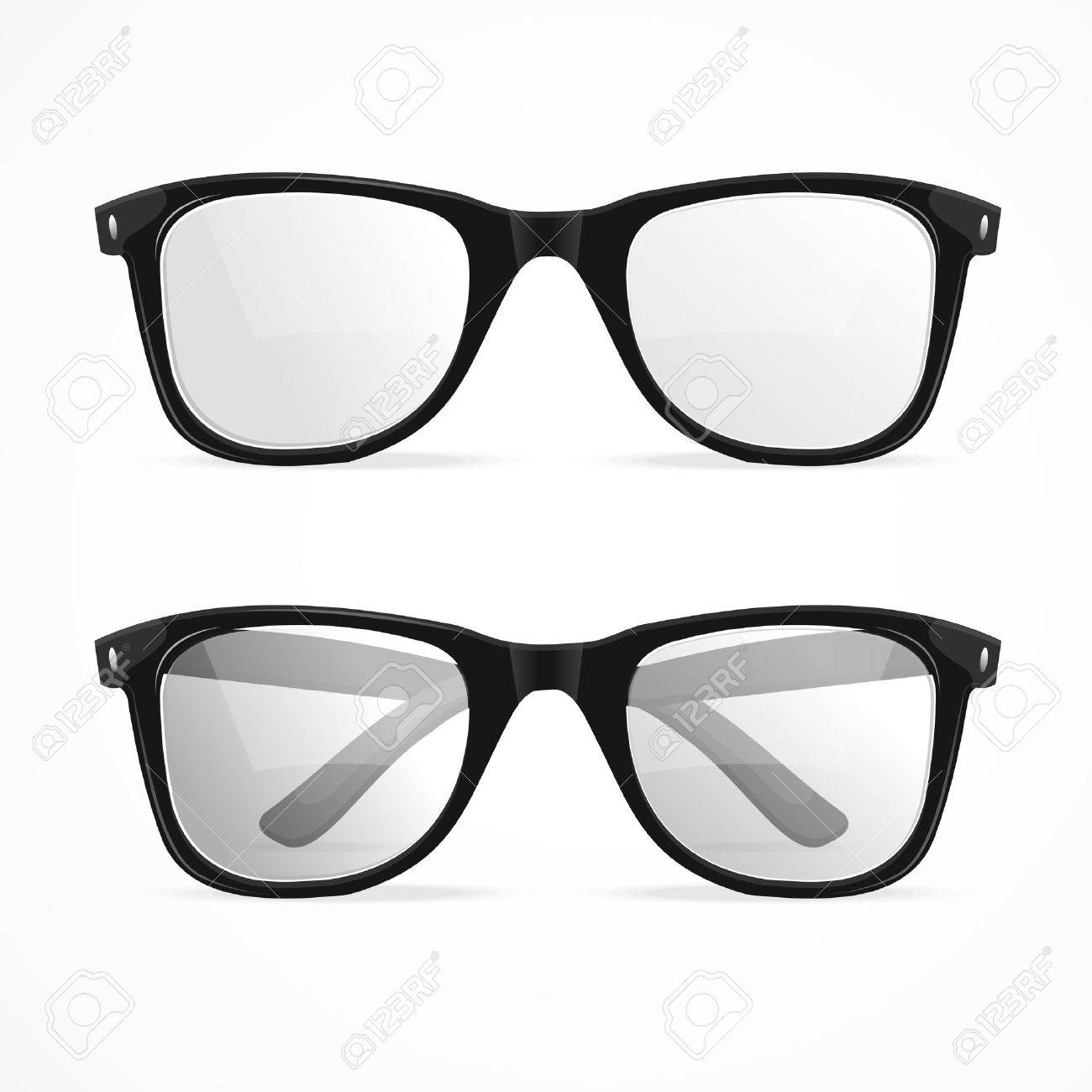 Vector Illustration Metal Framed Geek Glasses Isolated On A White ...