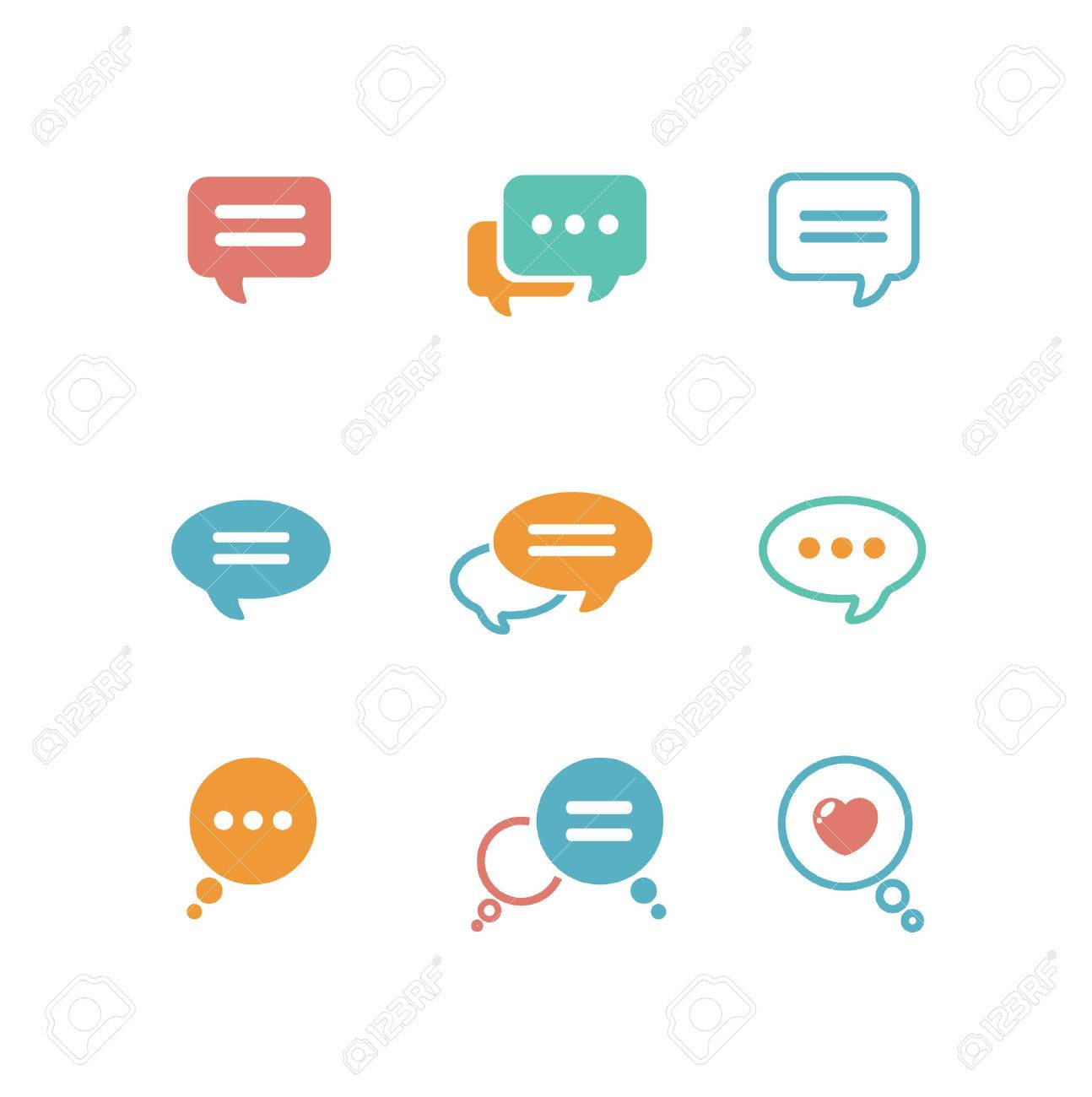Vector illustration Speech bubble icon set on white background isolated. Flat design style Stock Vector - 43321315