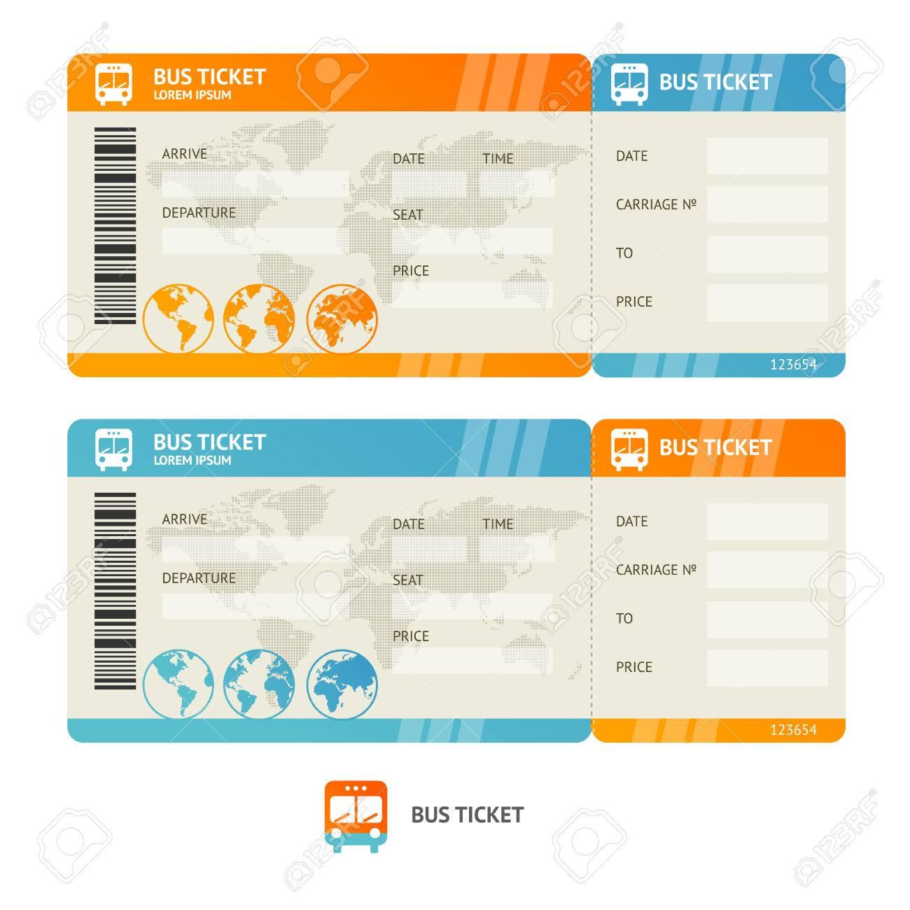 Bus-Ticket Isoliert Auf Weißem Hintergrund. Design-Vorlage. Vektor ...