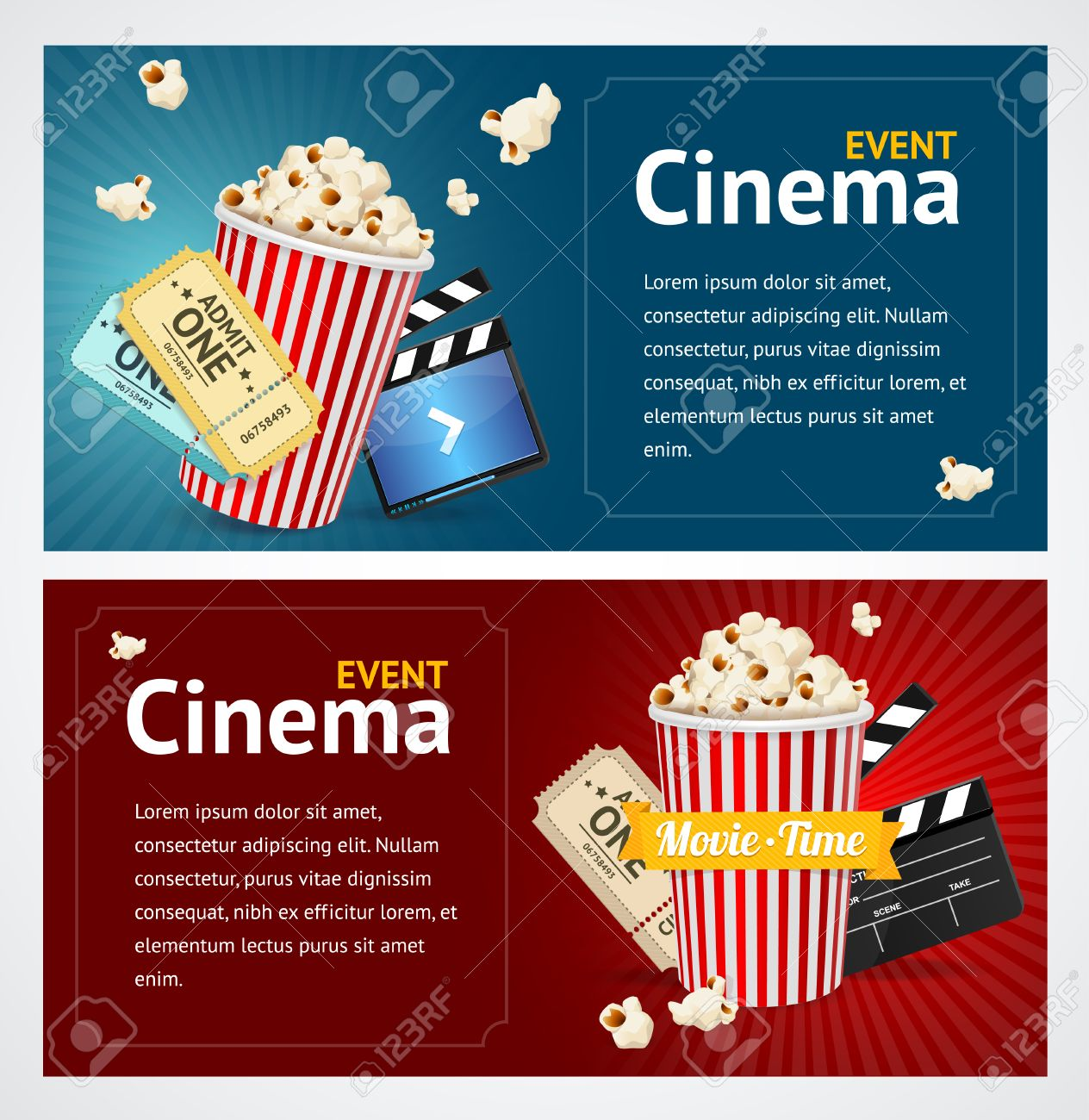 Realistic Cinema Movie Poster Template Horizontal Set Vector Illustration Stock
