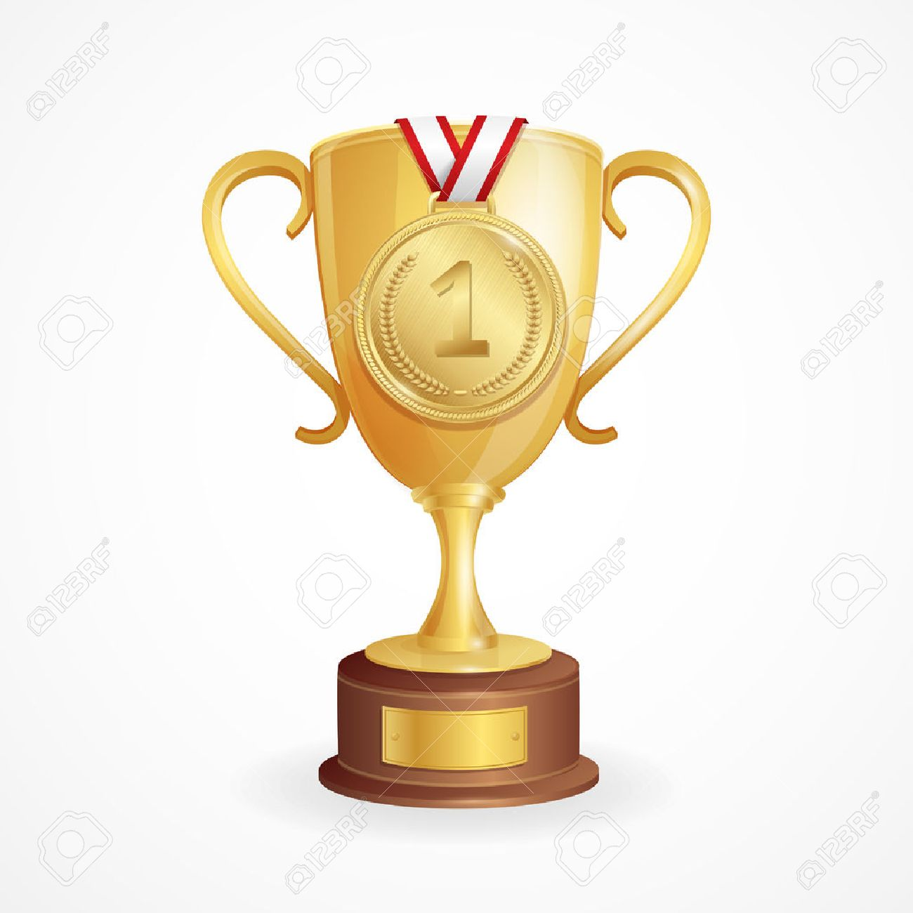 Winner Concept. Golden Cup and Medal. Vector illustration - 46552523