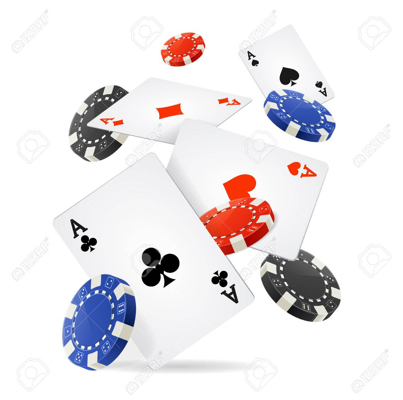 Casino Concept Floating Cards and Chips. Vector illustration - 50793484