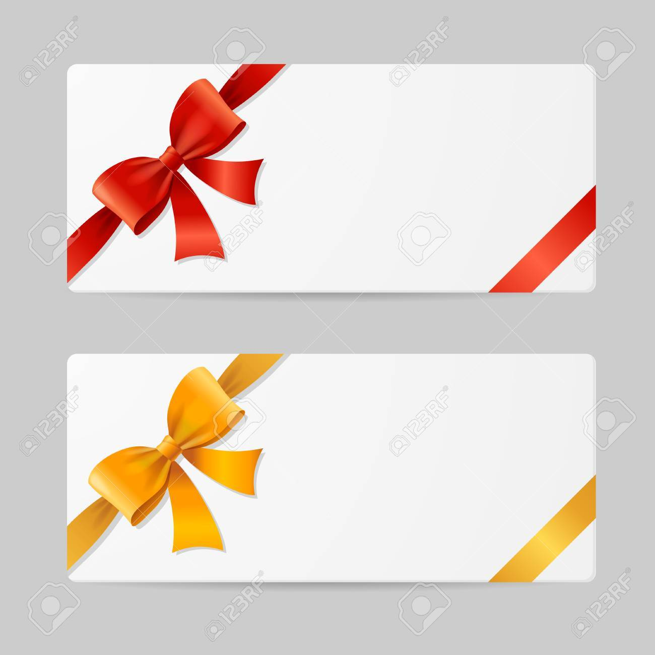 Gift Card Template With Res And Gold Ribbon Vector Illustration