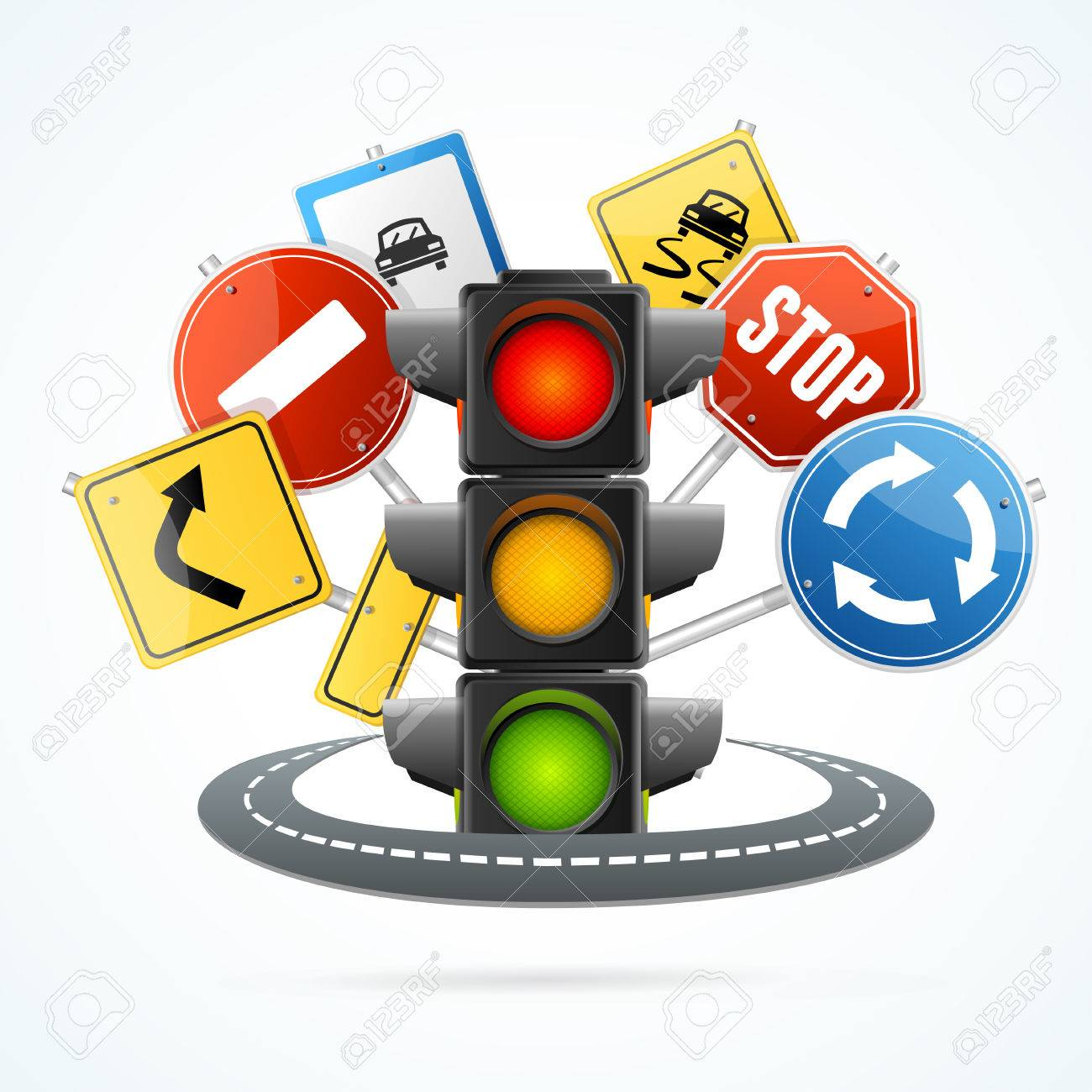 Traffic Light and Road Sign Concept. - 52132280