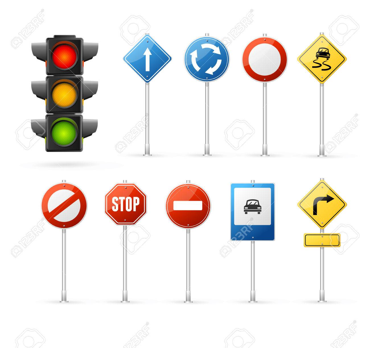 Traffic Light and Road Sign Set. - 52132227