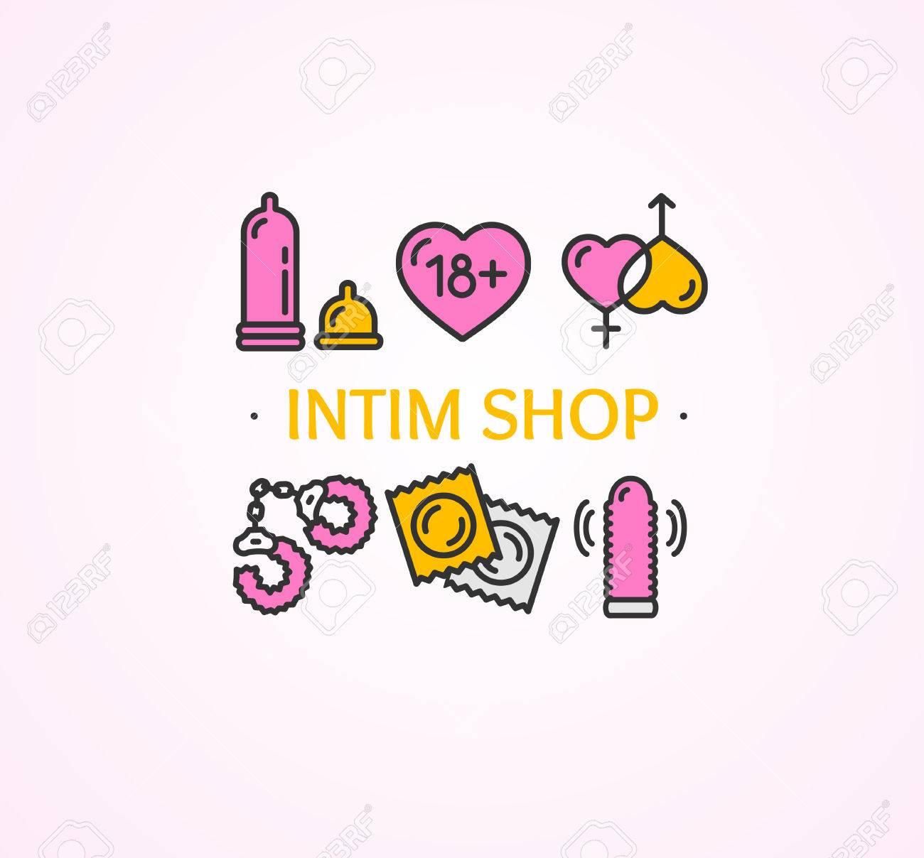 Intim O Sex Shop Concept. Cartel De Plantilla. Ilustración Vectorial ...