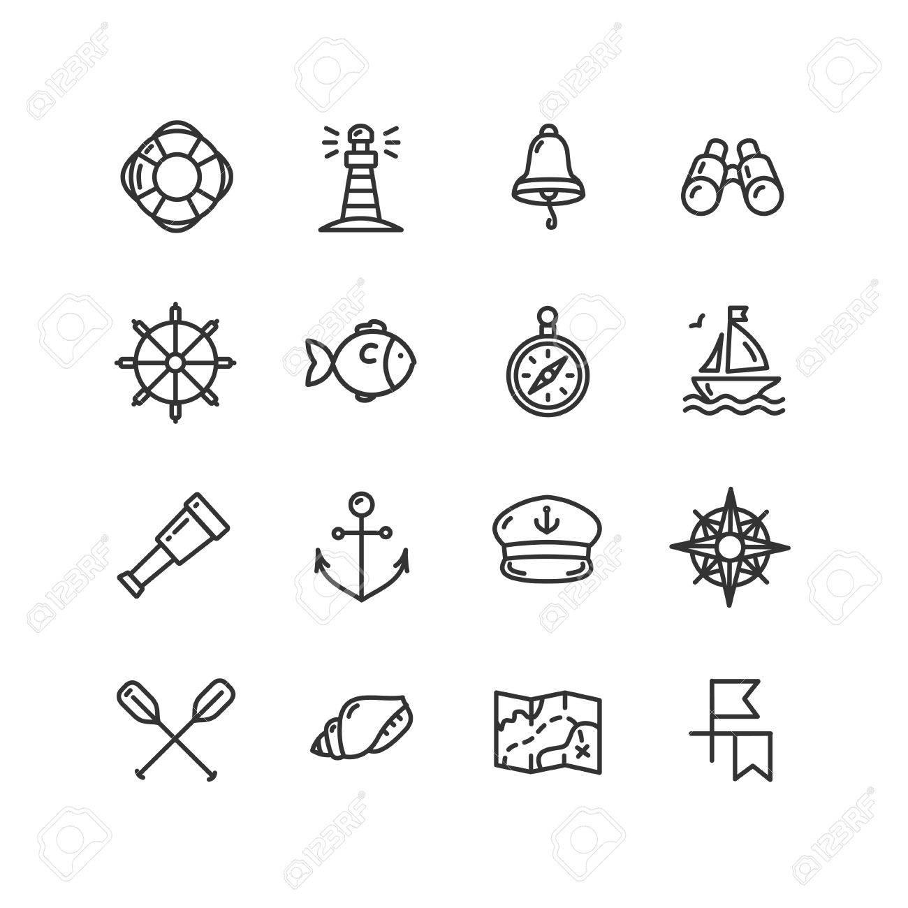 cef63d8df Nautical Sea Outline Icon Set. Vector illustration