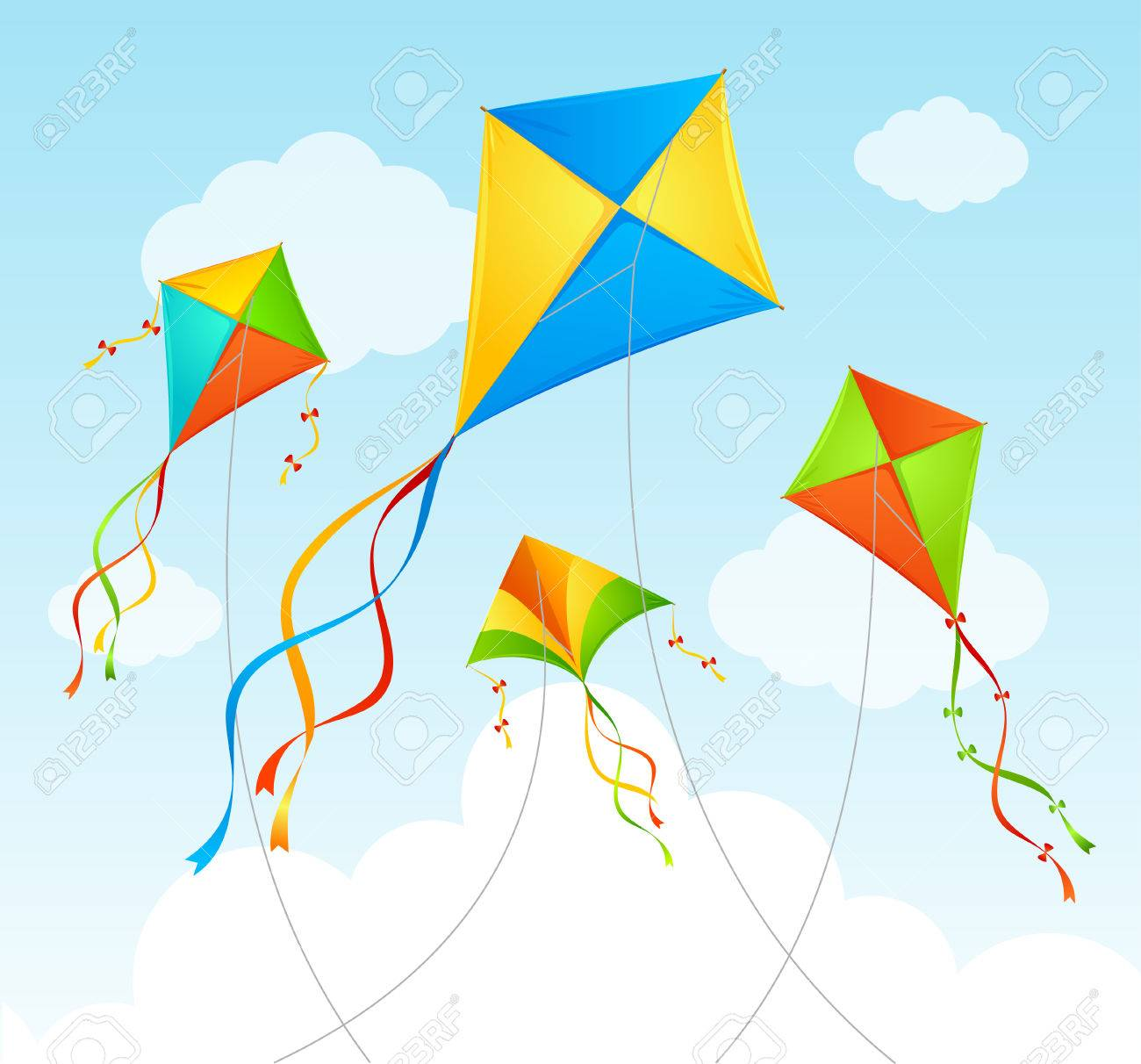 Fly Kite and Clouds on a Blue Sky. Summer Background. Vector illustration - 54183420