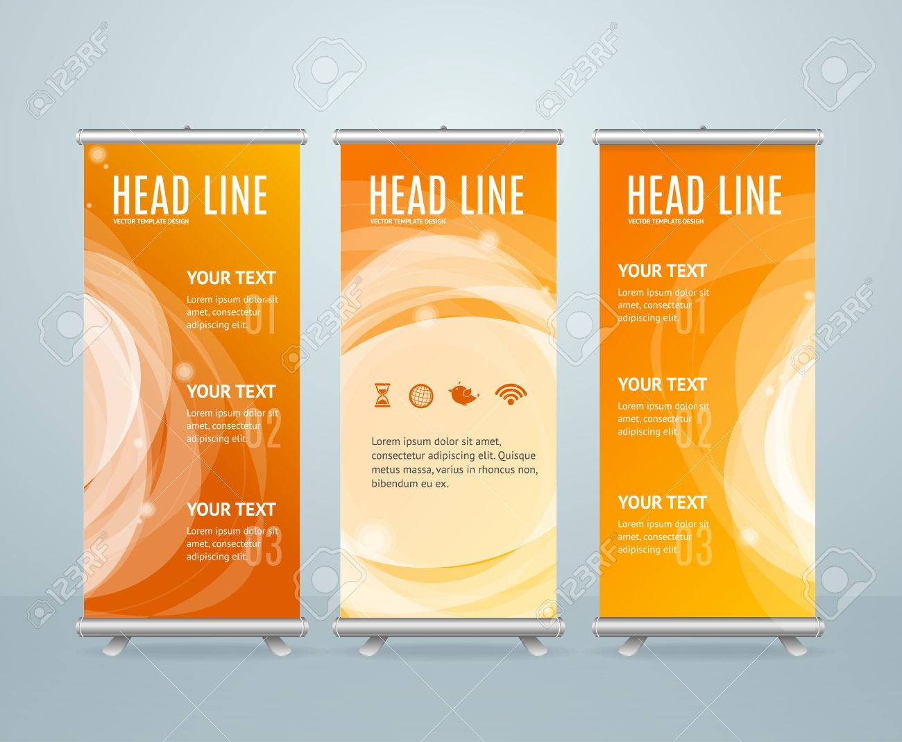 Roll Up Banner Stand Design Template On Orange Background. Vector illustration - 55548967