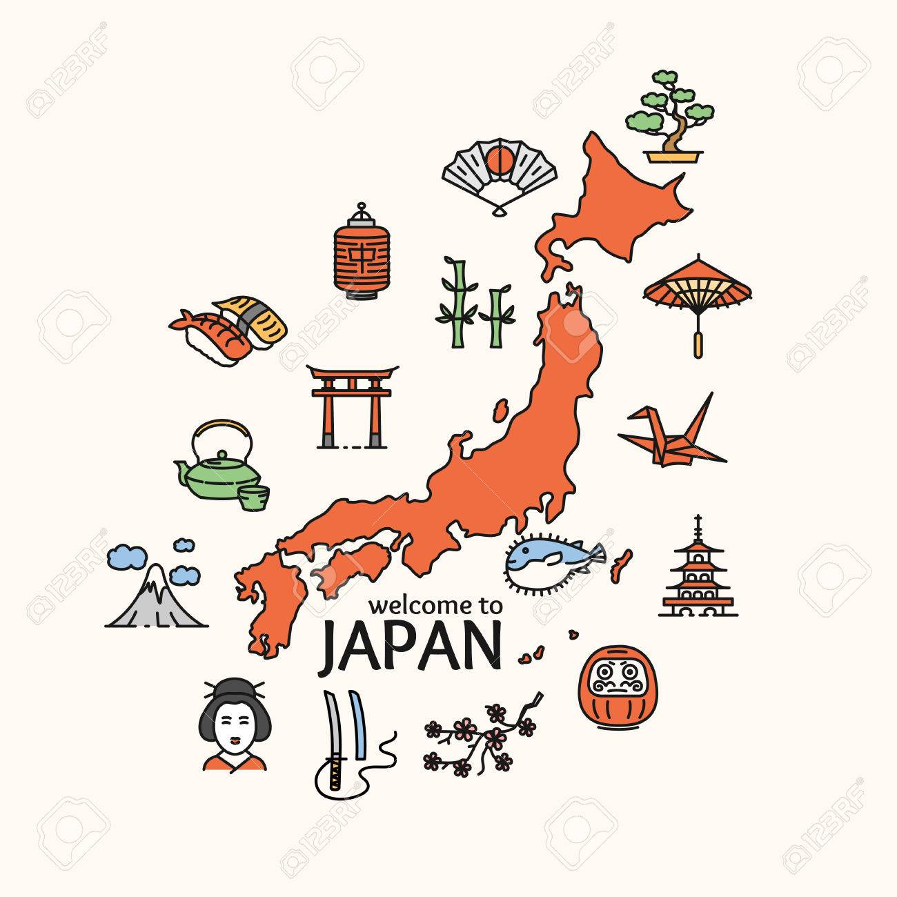 Japan Concept Travel. Map of Country. Poster. Vector illustration - 55548965