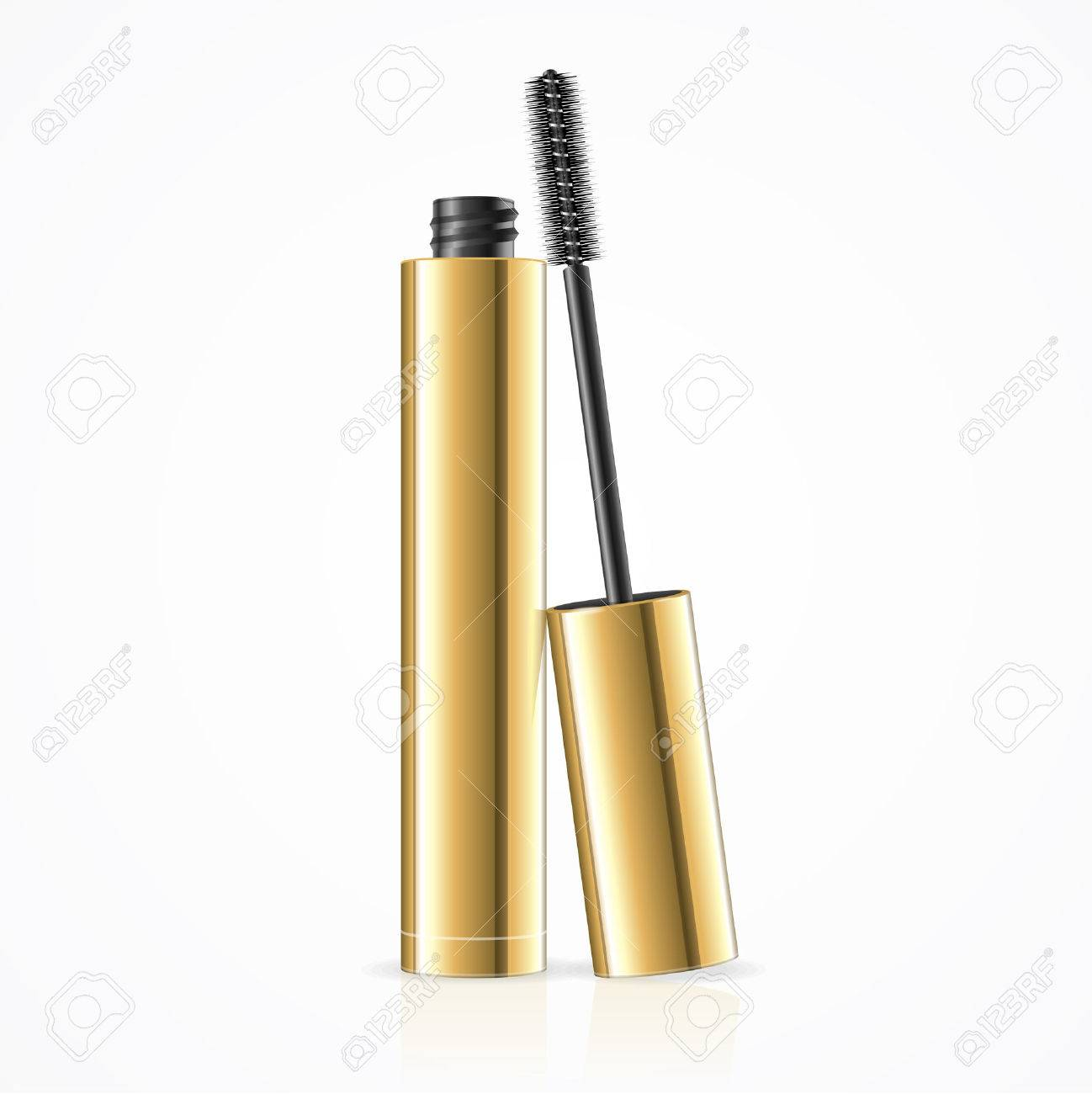 Black Mascara. Open Golden Tube. Vector illustration - 55964464