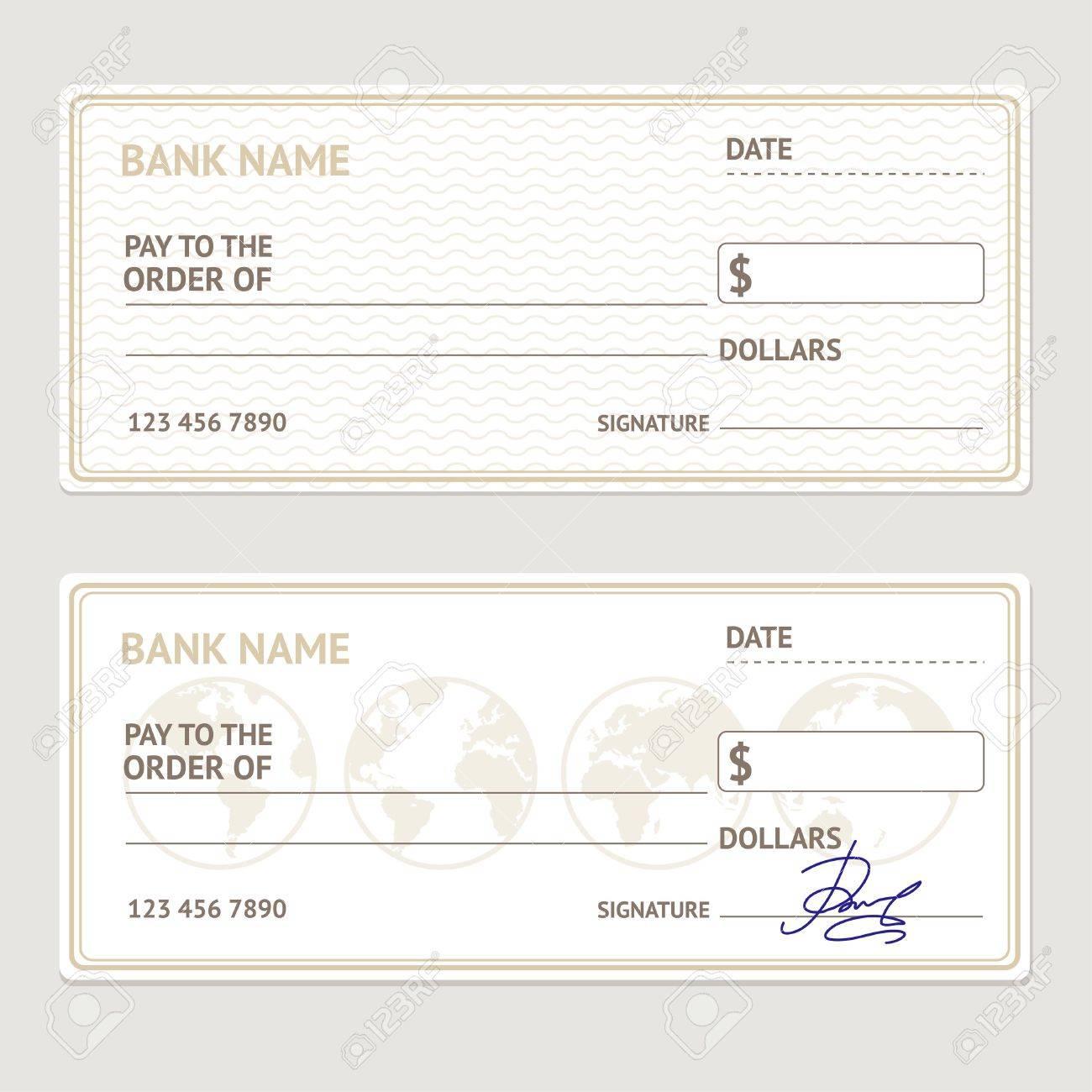 Cheque Bancaire Template Set Formulaire Vierge Avec Exemples