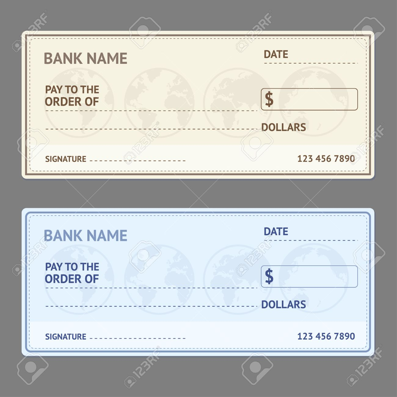Bank check template set with world map on grey background vector bank check template set with world map on grey background vector illustration stock vector pronofoot35fo Image collections