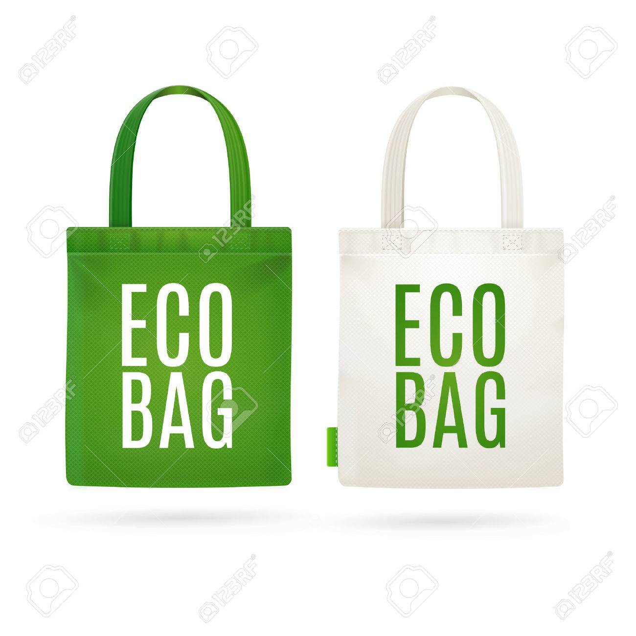 Eco Fabric Cloth Bag Tote Isolated on White Background. Care about the Environment. Vector illustration - 58745497