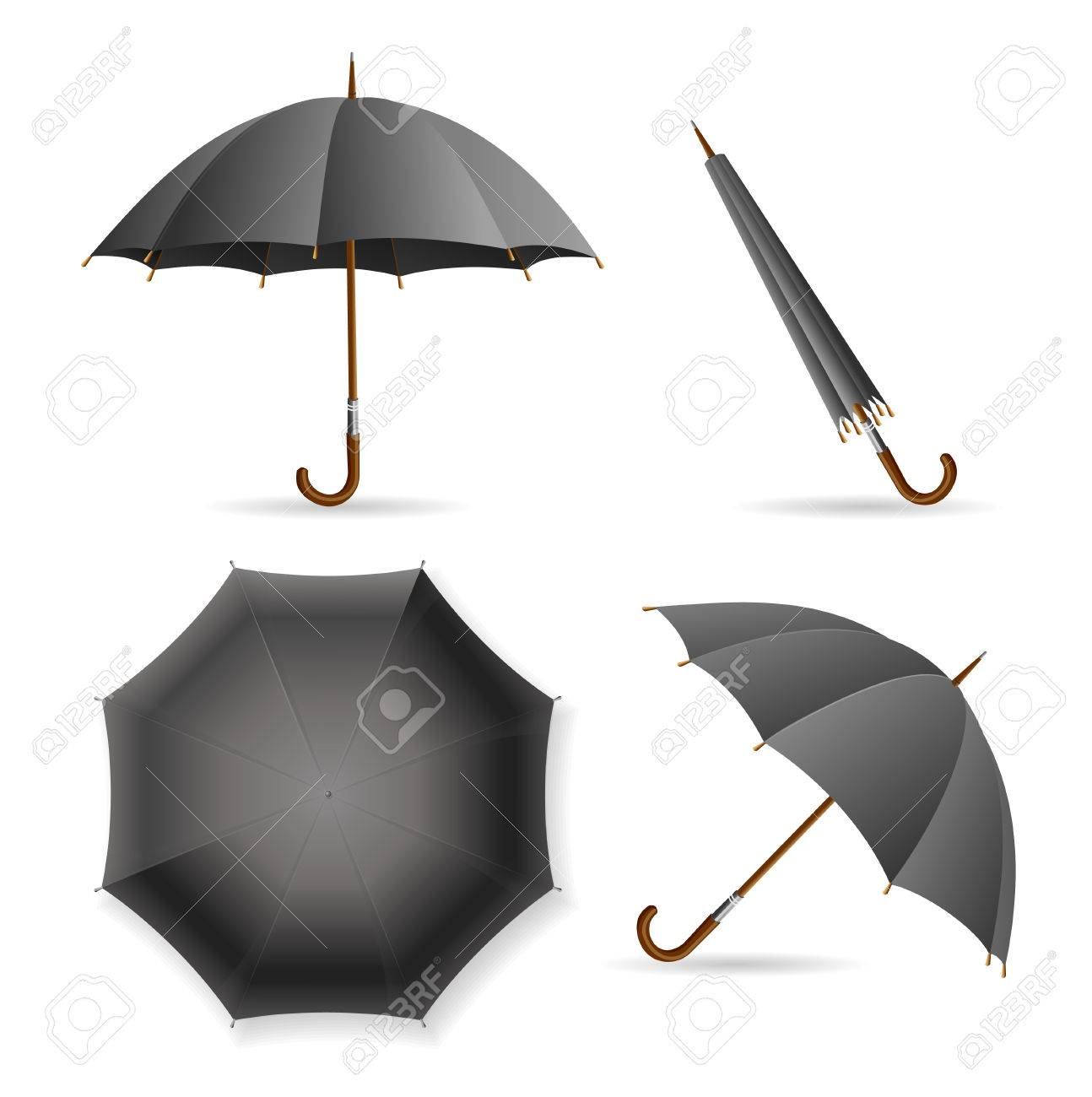 1a07dd114 Black Umbrella Template Set. Opened and Closed. Vector illustration Stock  Vector - 62205906