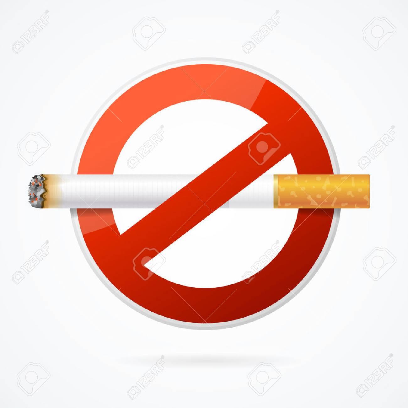 Senal De No Fumar Con Cigarrillo Realista Para El Cartel Ilustracion Vectorial