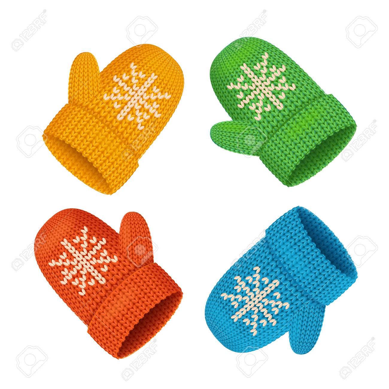 Invierno Manoplas Conjunto Colorido. Accesorio De Temporada ...
