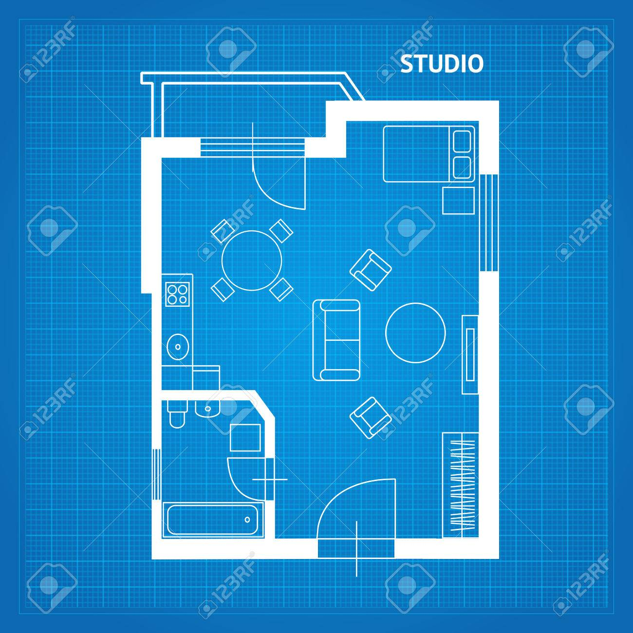 Apartment floor line plan studio blueprint with furniture vector apartment floor line plan studio blueprint with furniture vector illustration foto de archivo 67170690 malvernweather Choice Image