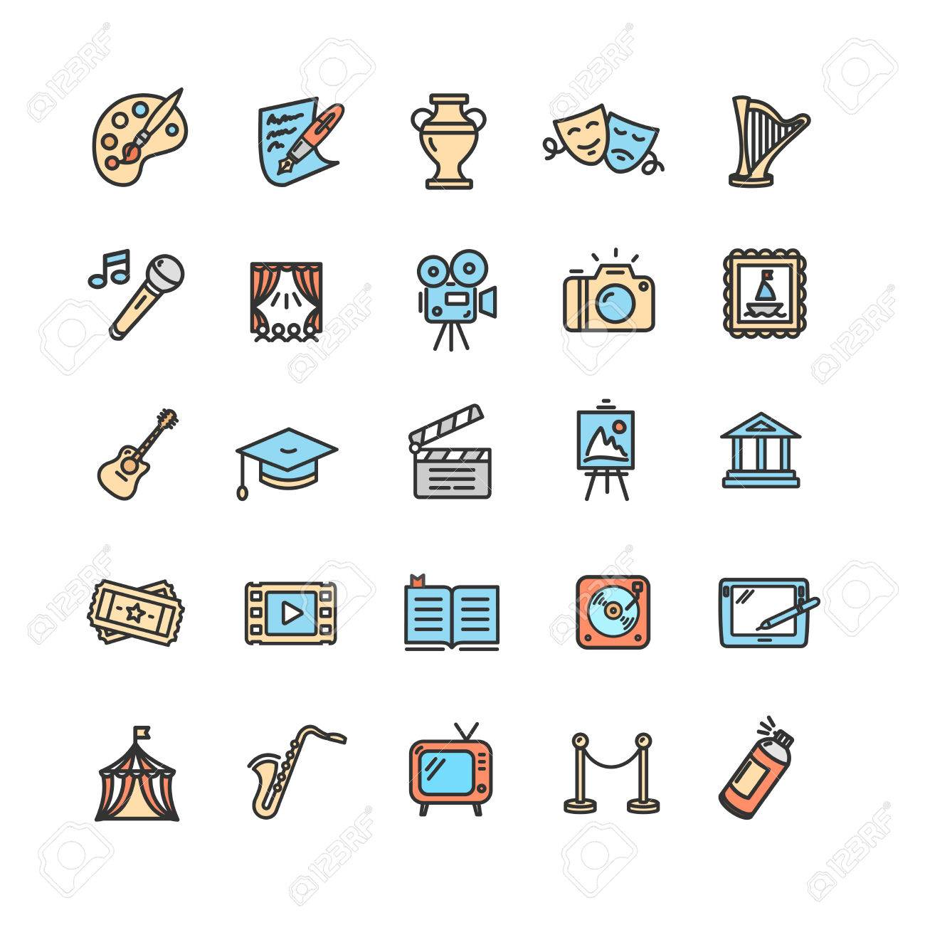 Culture and Creative Fine Art Icons Set. Vector - 71635350